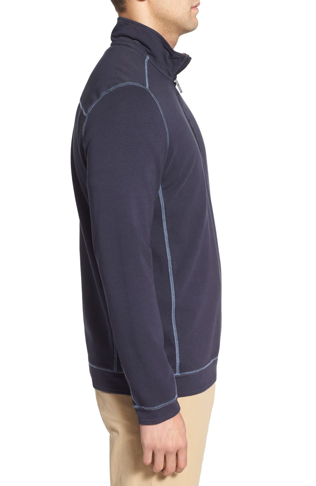 TOMMY BAHAMA,                             'Ben & Terry' Half Zip Pullover,                             Alternate thumbnail 5, color,                             001