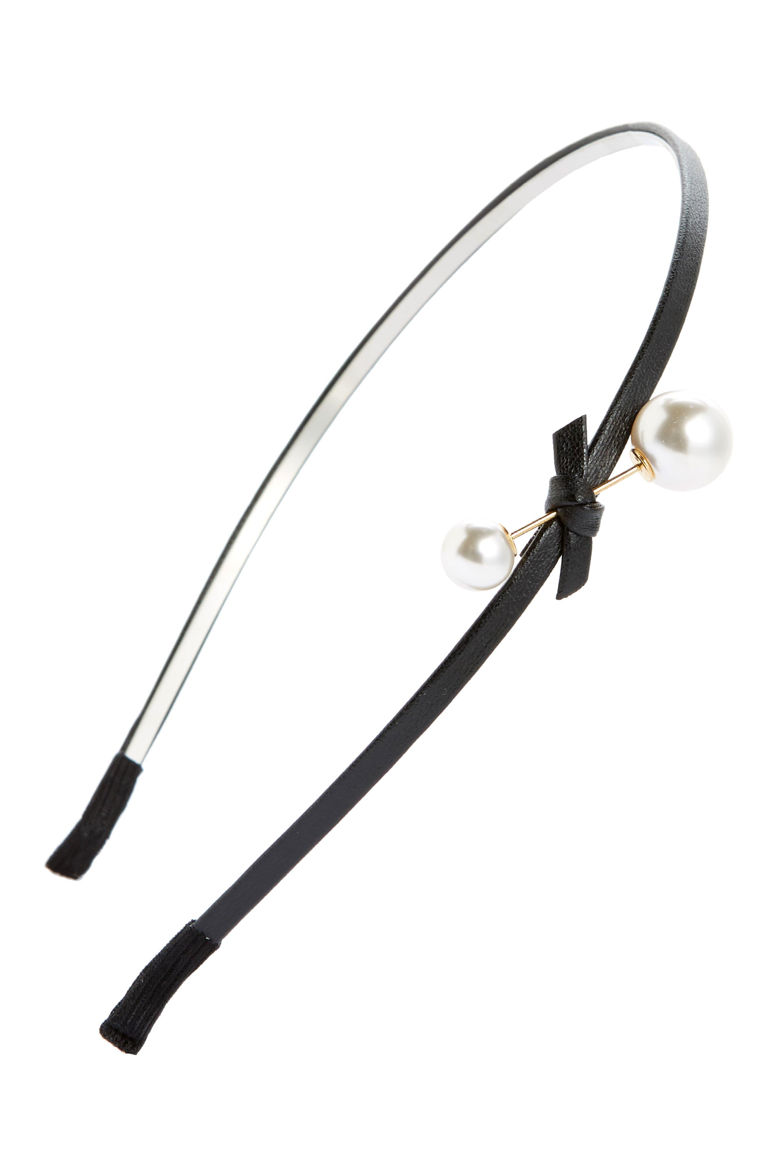 Imitation Pearl & Bow Headband,                         Main,                         color, 001