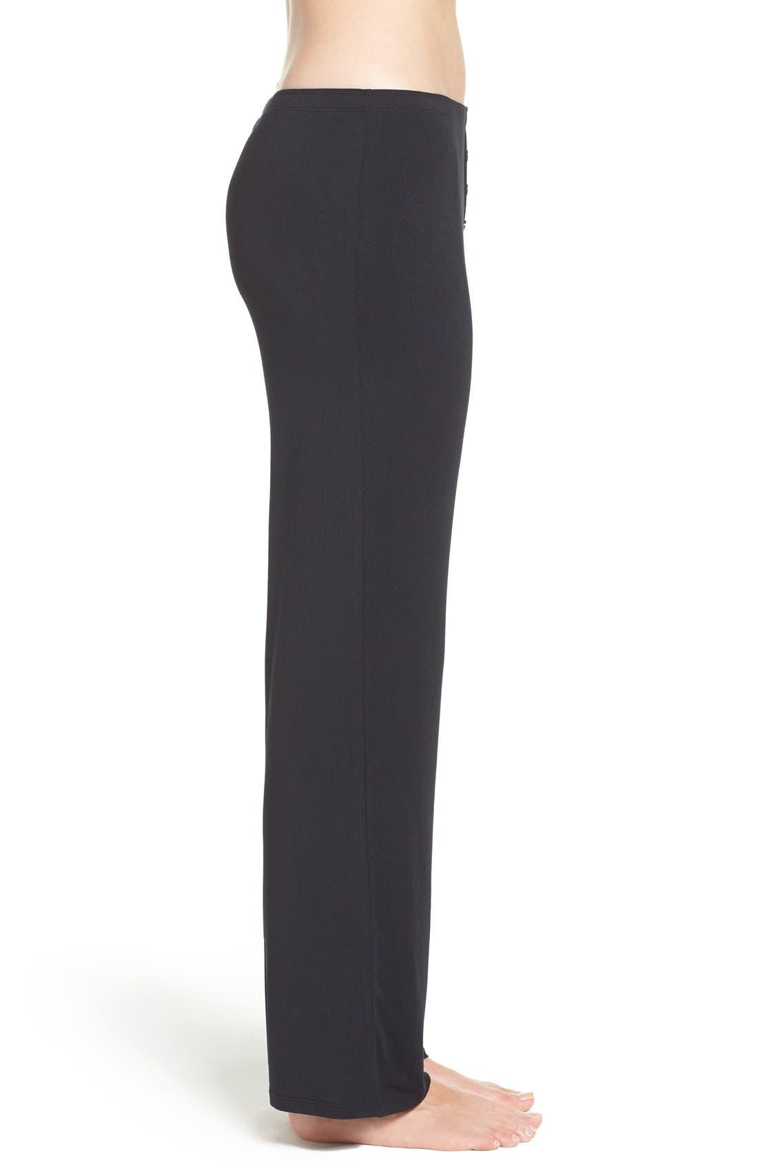 Jersey Pajama Pants,                             Alternate thumbnail 4, color,                             BLACK