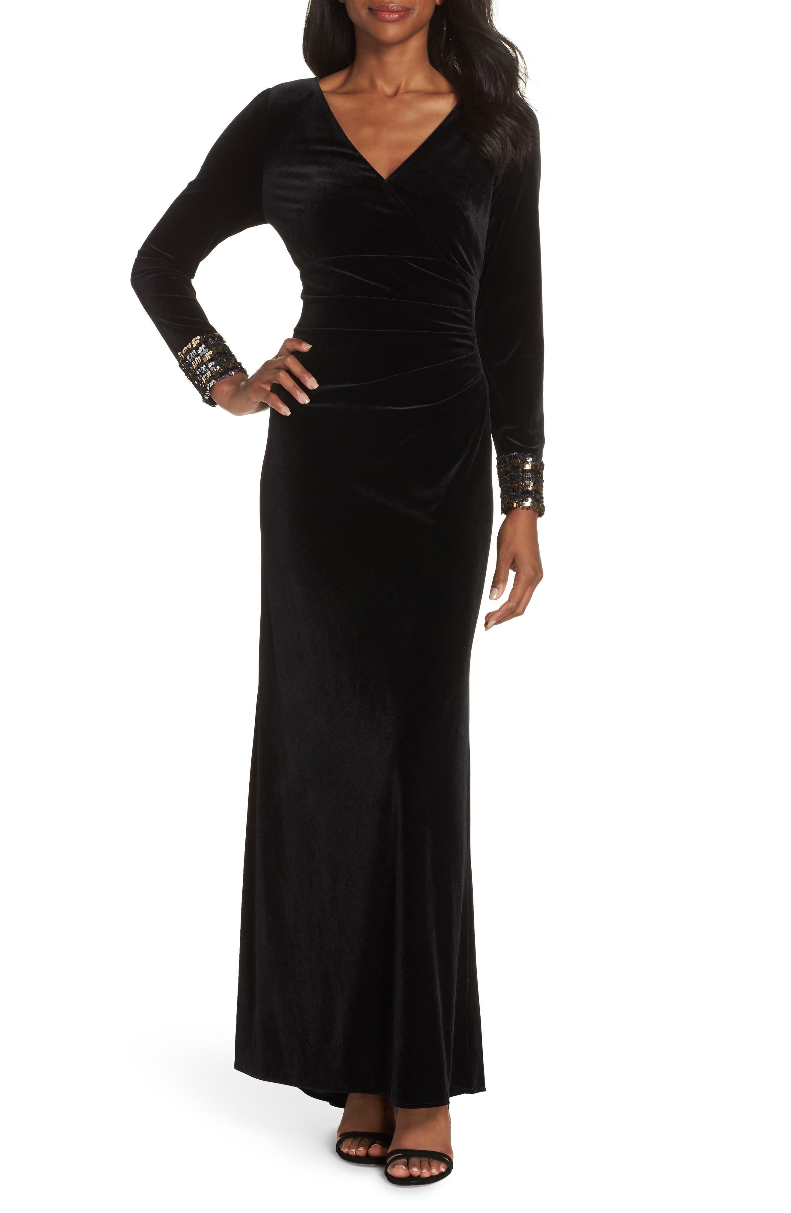 Sequin Cuff Stretch Velvet Gown,                             Main thumbnail 1, color,                             BLACK