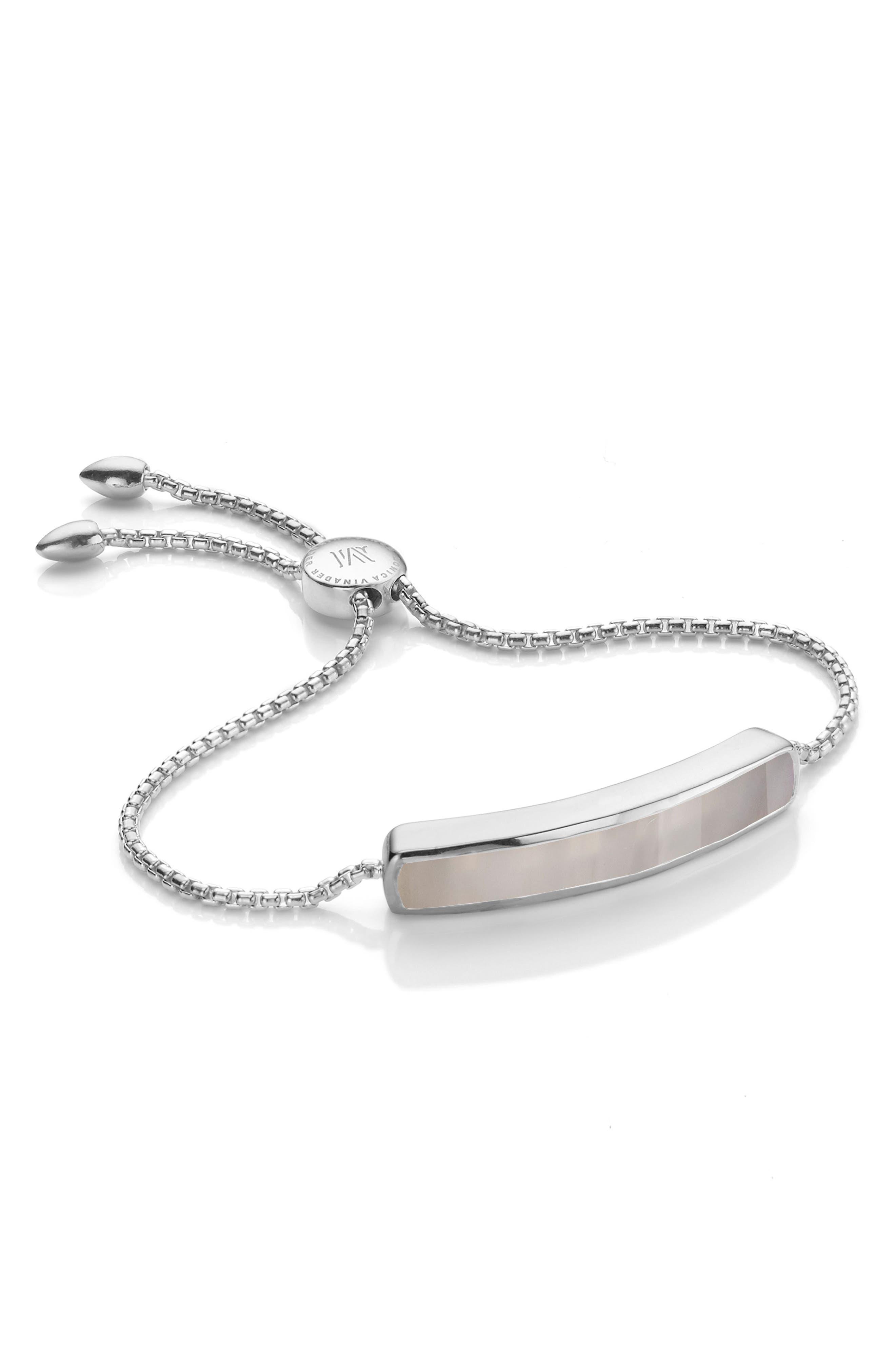 Baja Sterling Stone Bracelet,                         Main,                         color, GREY AGATE/ SILVER