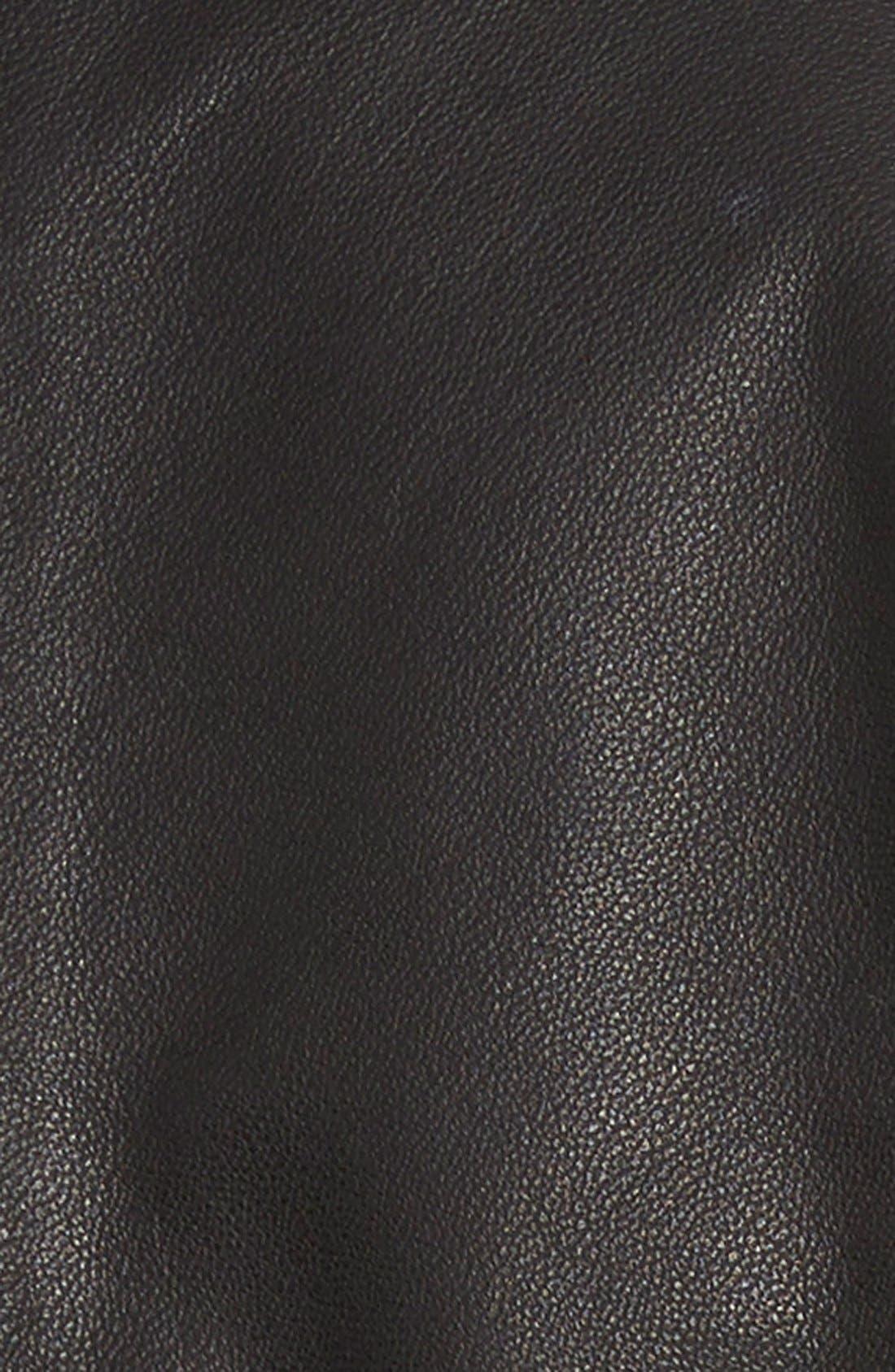 VOLCOM,                             'Stone Row' Moto Leather Jacket,                             Alternate thumbnail 3, color,                             001