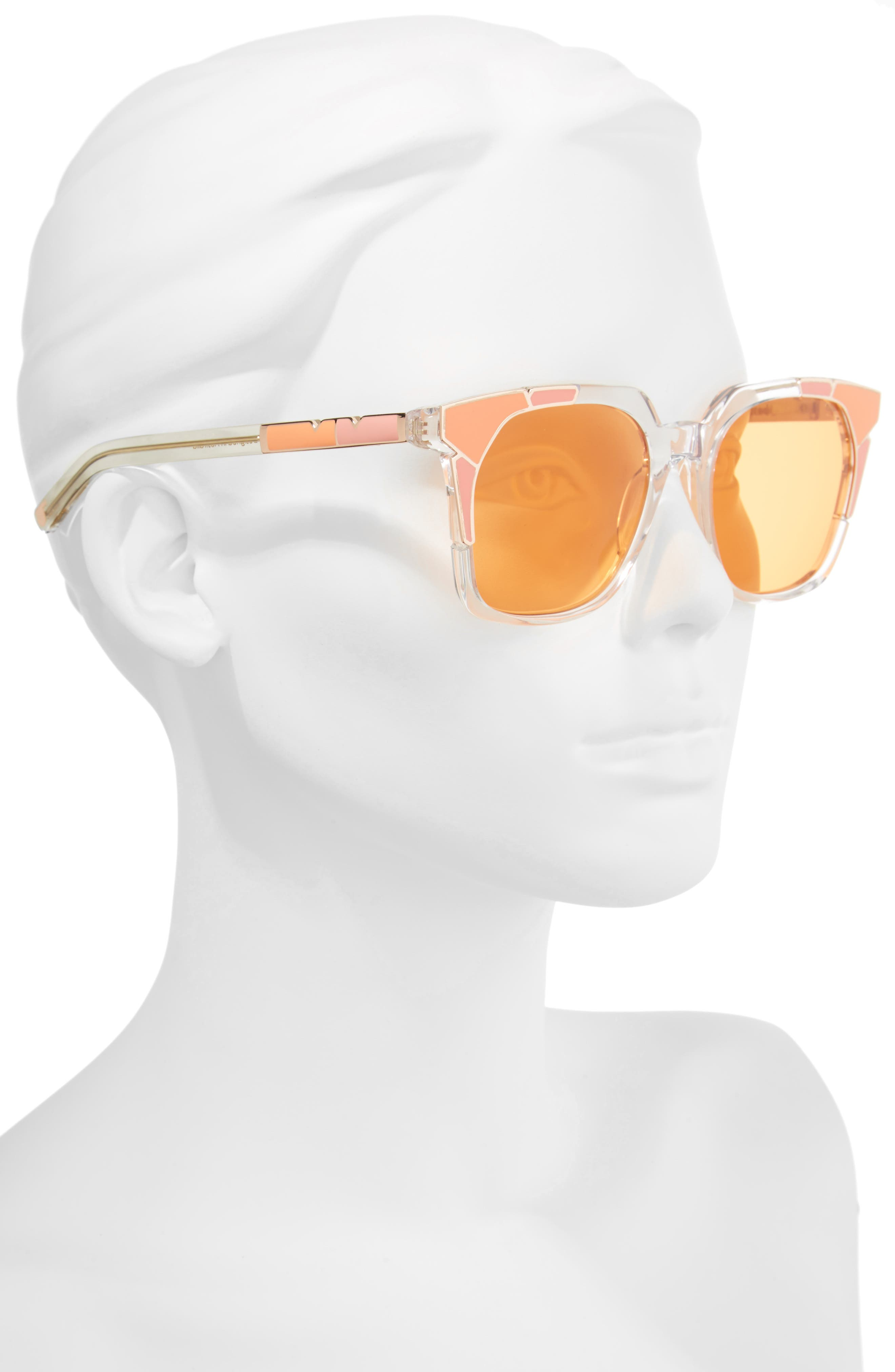Tutti & Frutti 55mm Sunglasses,                             Alternate thumbnail 2, color,                             SALMON ORANGE/ ROSE GOLD