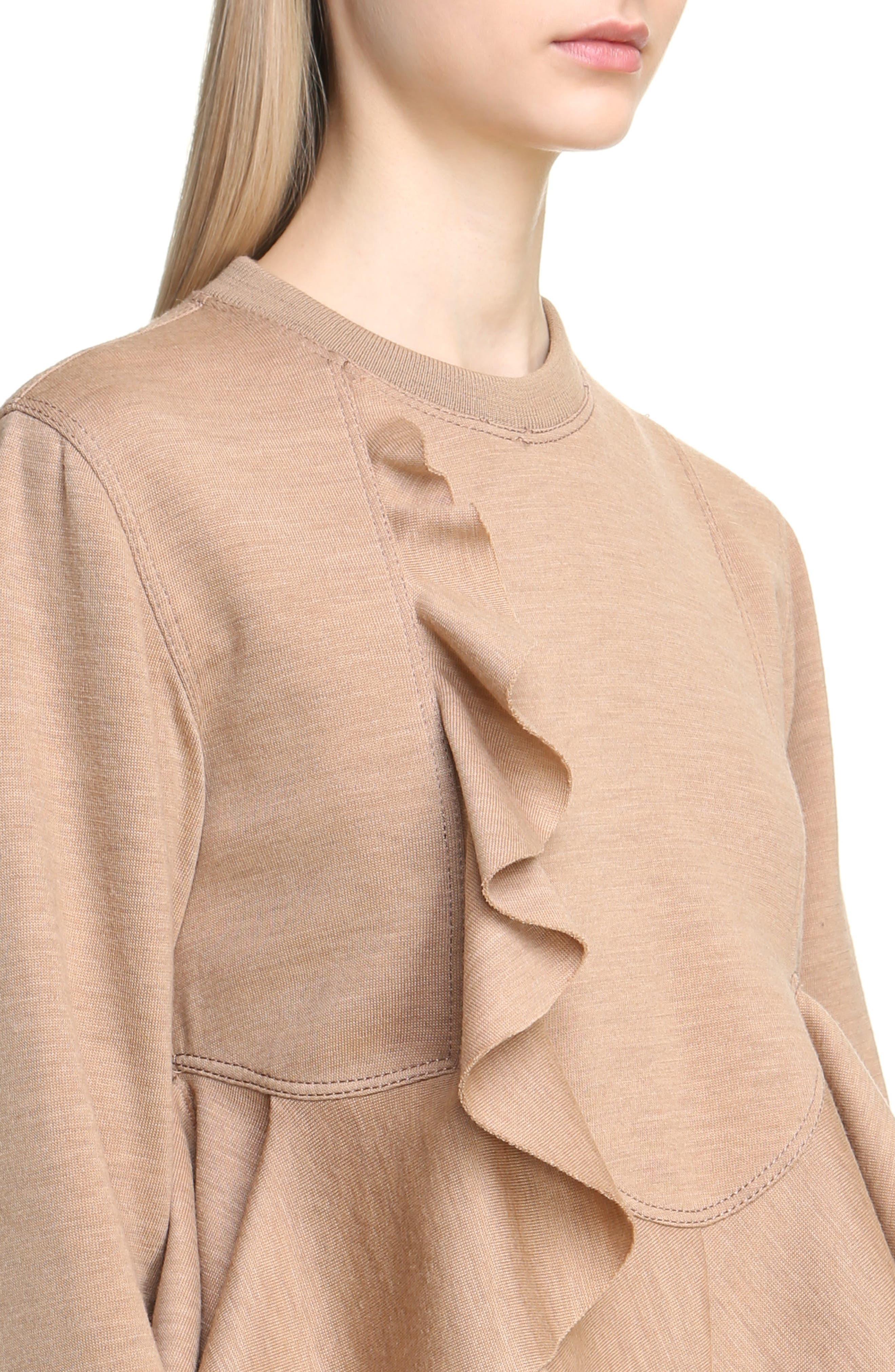 Ruffled Wool Sweatshirt,                             Alternate thumbnail 4, color,                             280
