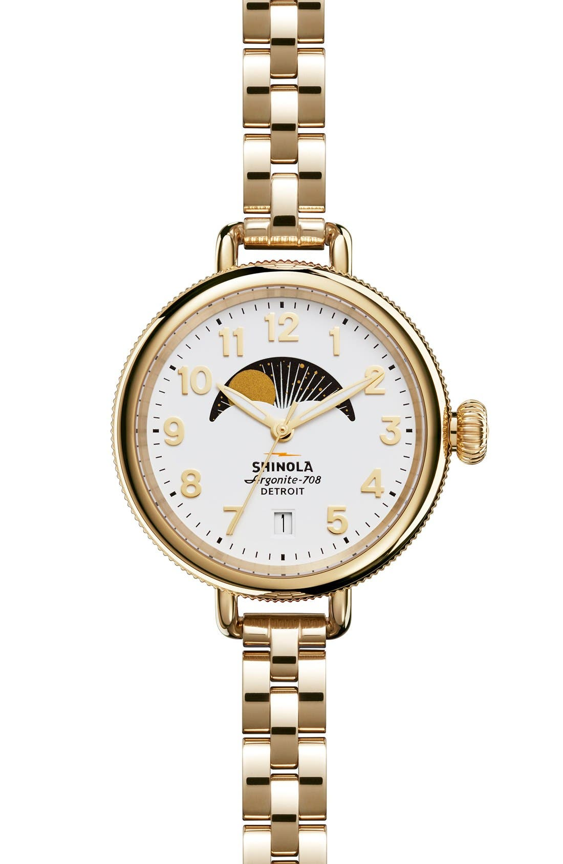 'The Birdy' Moon Phase Bracelet Watch, 34mm,                         Main,                         color, GOLD/ WHITE