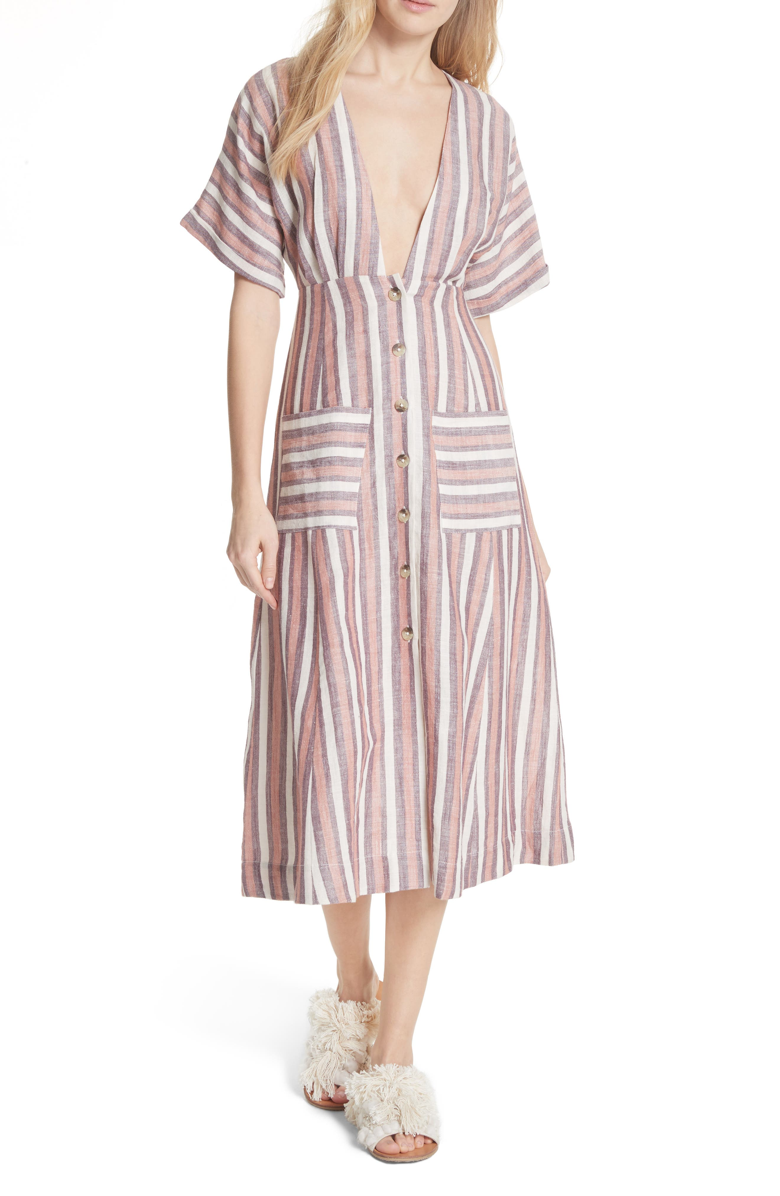 Monday Stripe Linen Blend Midi Dress,                             Main thumbnail 2, color,