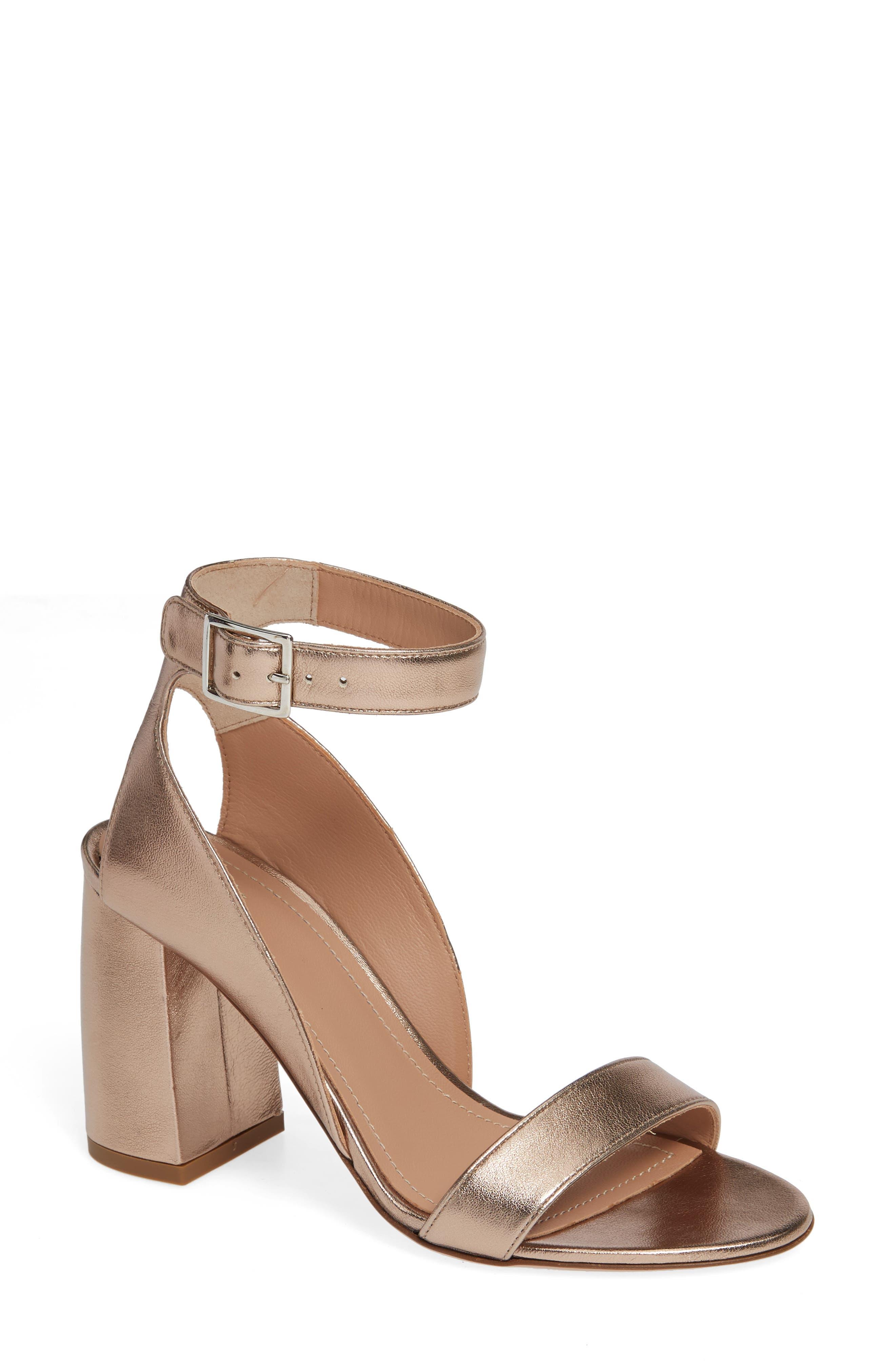 Guilia Block Heel Sandal,                             Main thumbnail 1, color,                             BRONZE LEATHER