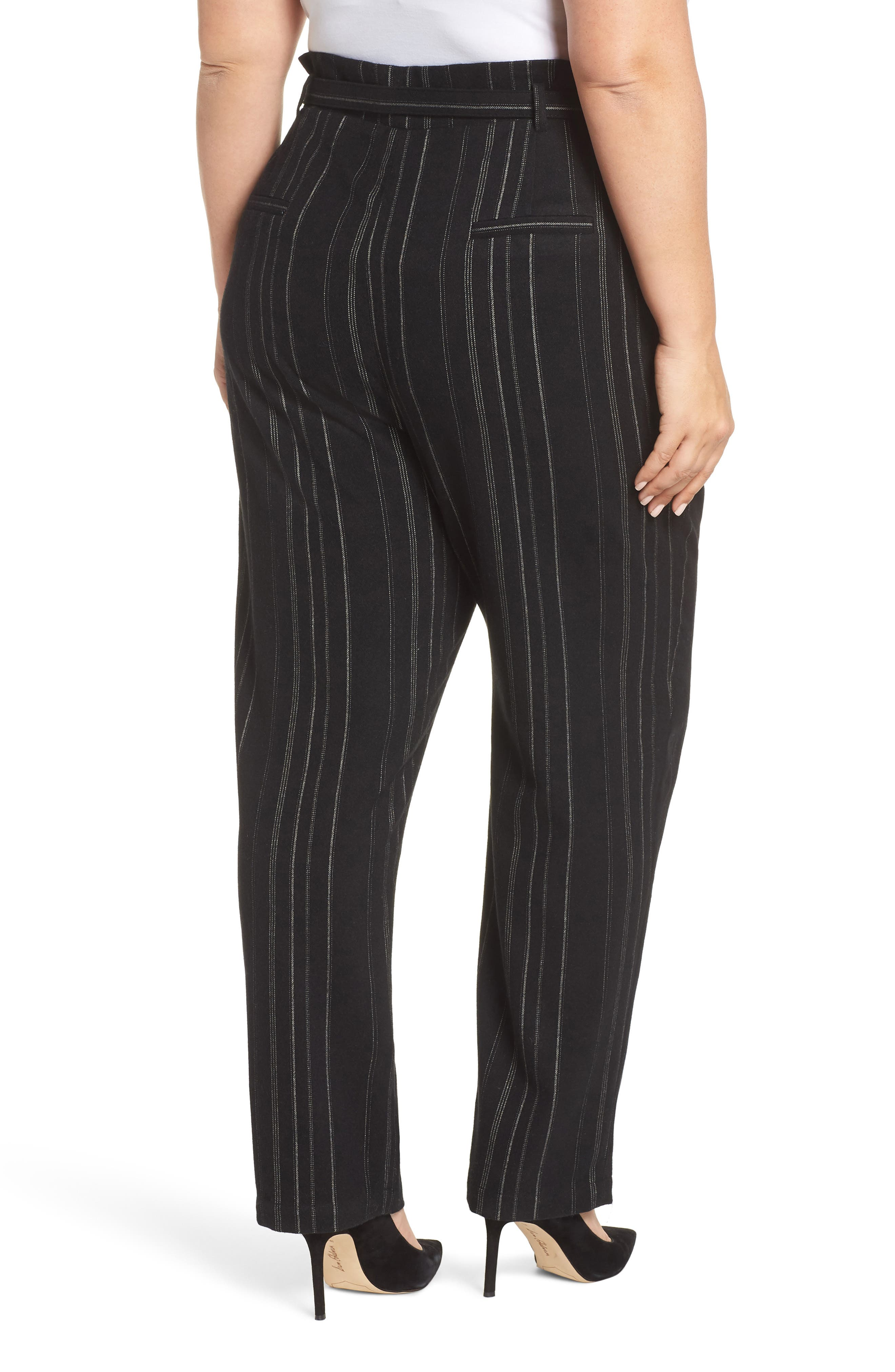 High Rise Belted Paperbag Pants,                             Alternate thumbnail 9, color,                             BLACK MIXED STRIPE