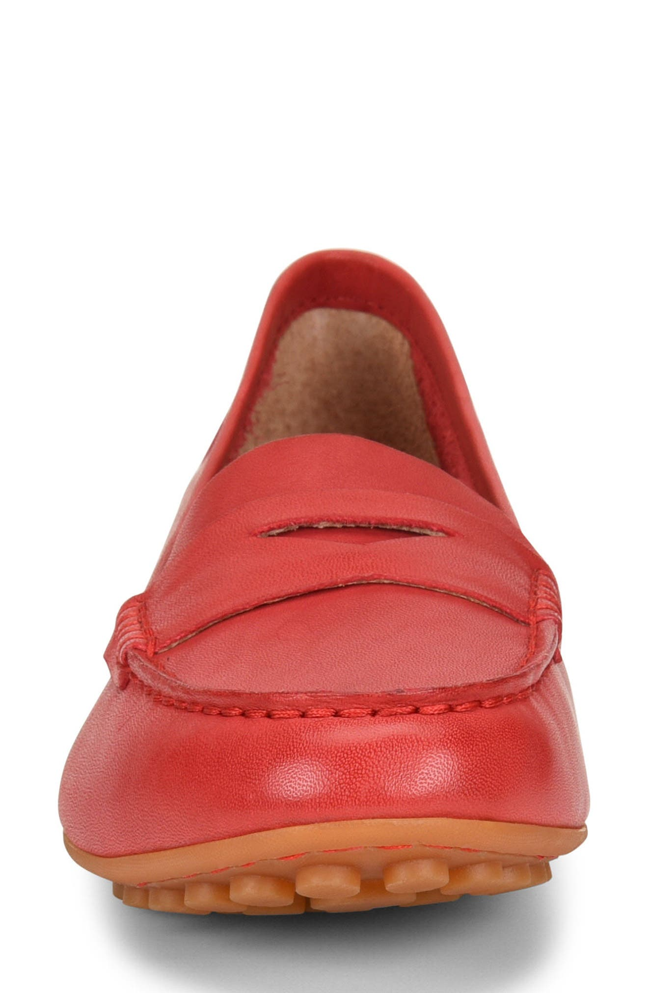 Malena Driving Loafer,                             Alternate thumbnail 4, color,                             RED LEATHER
