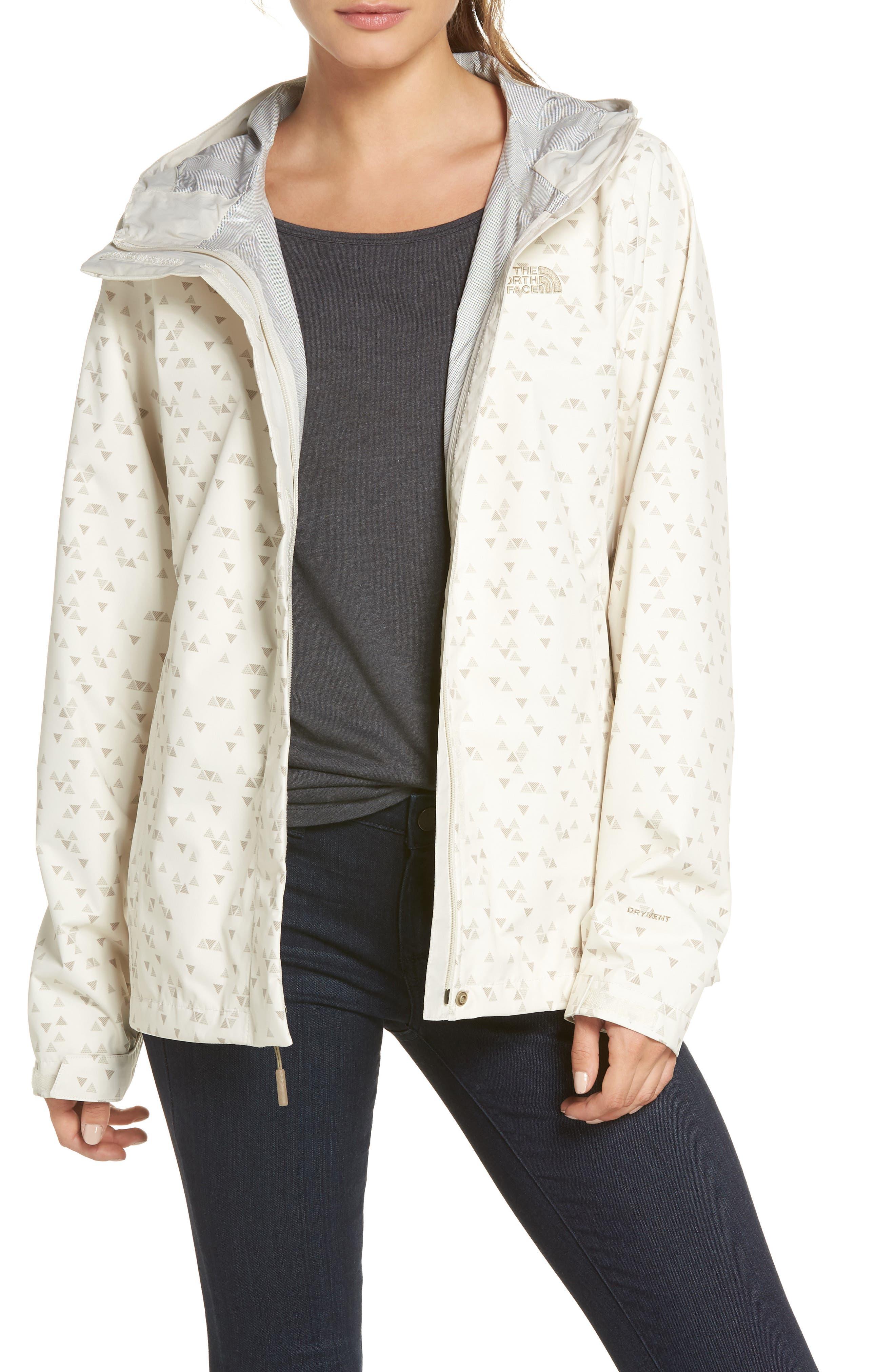 Venture Print Waterproof Jacket,                         Main,                         color, VINTAGE WHITE SPARSE