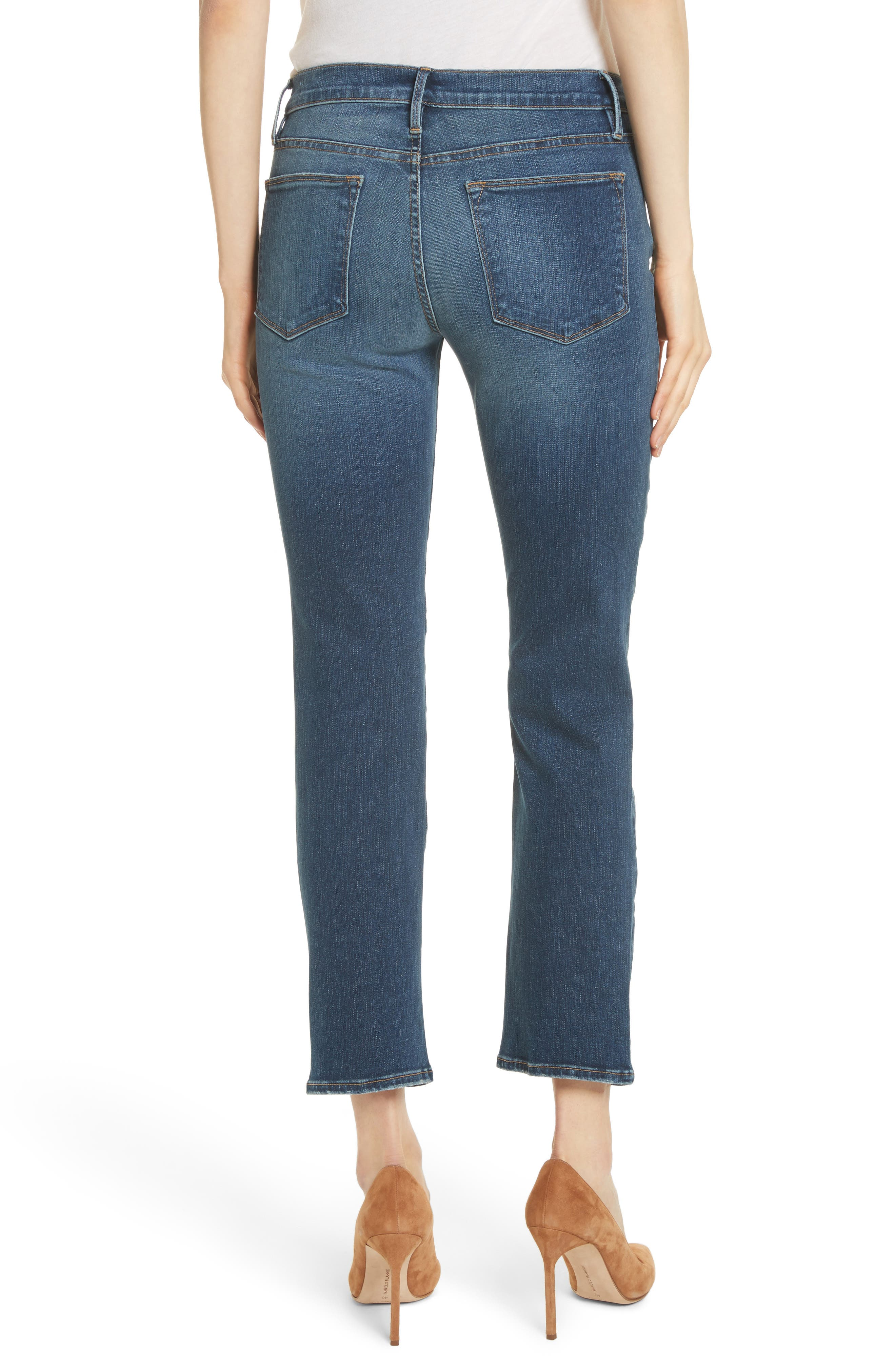 Le High Ankle Straight Leg Jeans,                             Alternate thumbnail 2, color,