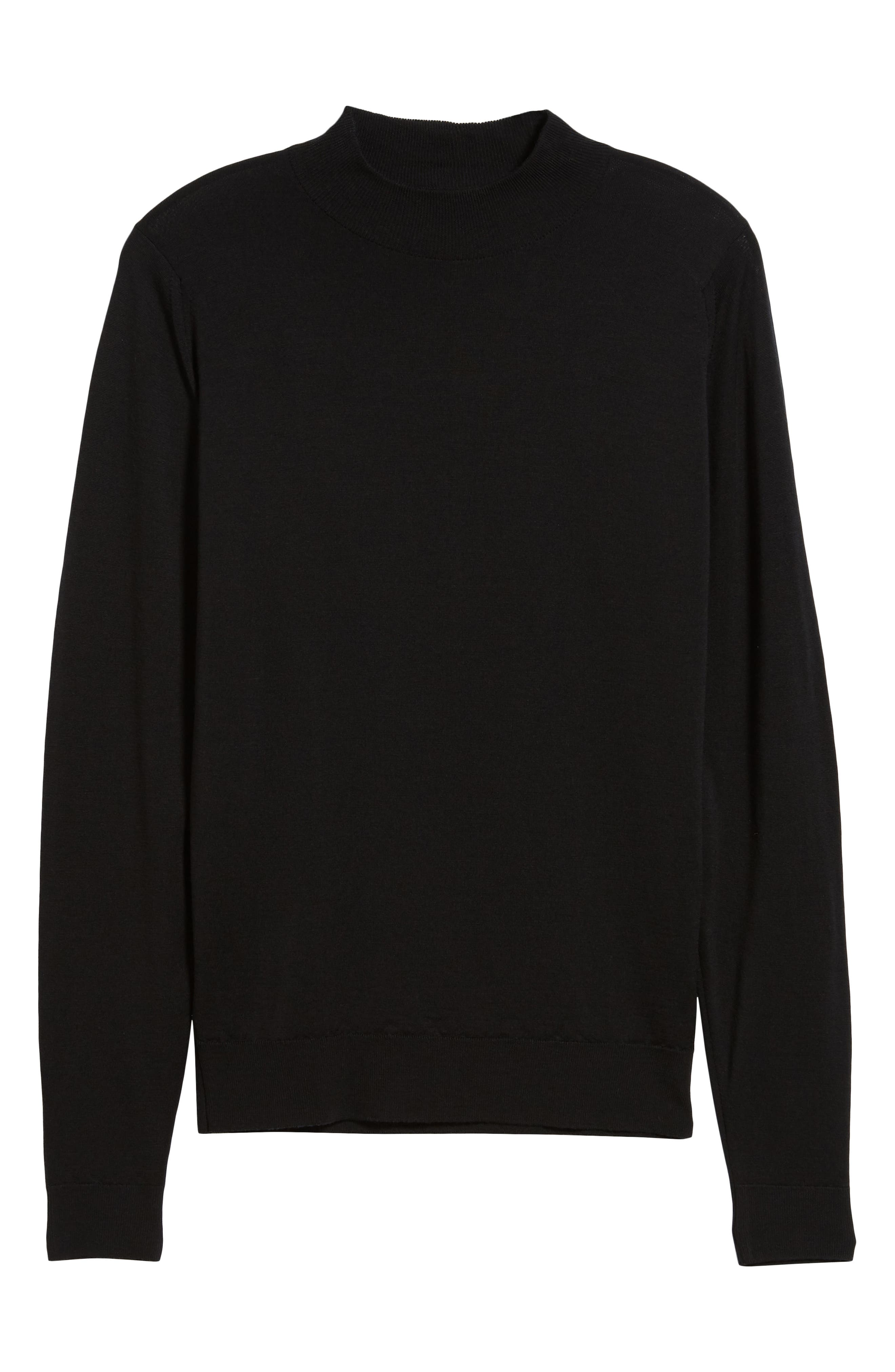 Slim Fit Mock Neck Merino Wool Sweater,                             Alternate thumbnail 6, color,                             BLACK