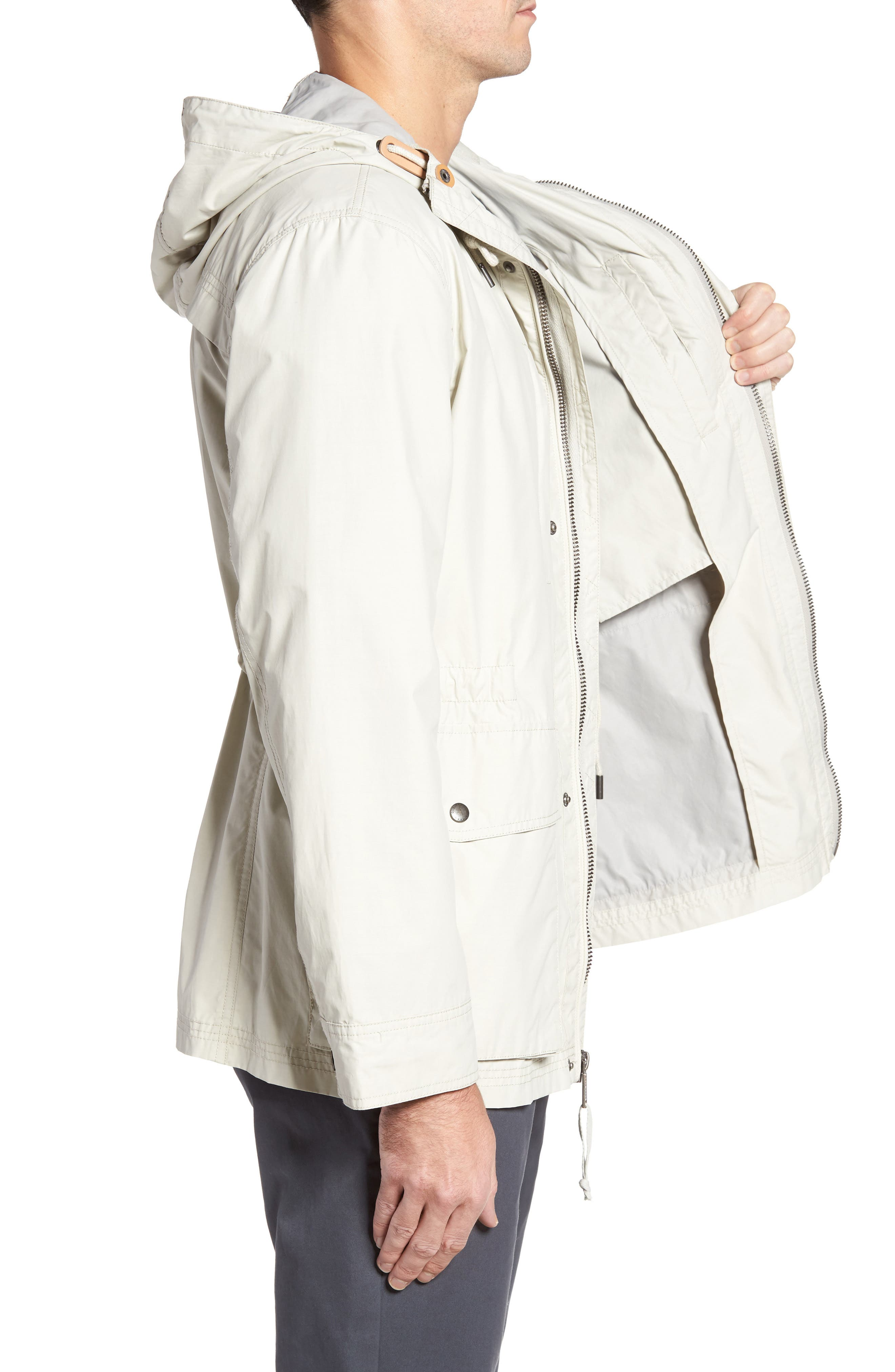 COLE HAAN,                             Water Repellent Hooded Jacket,                             Alternate thumbnail 3, color,                             STONE