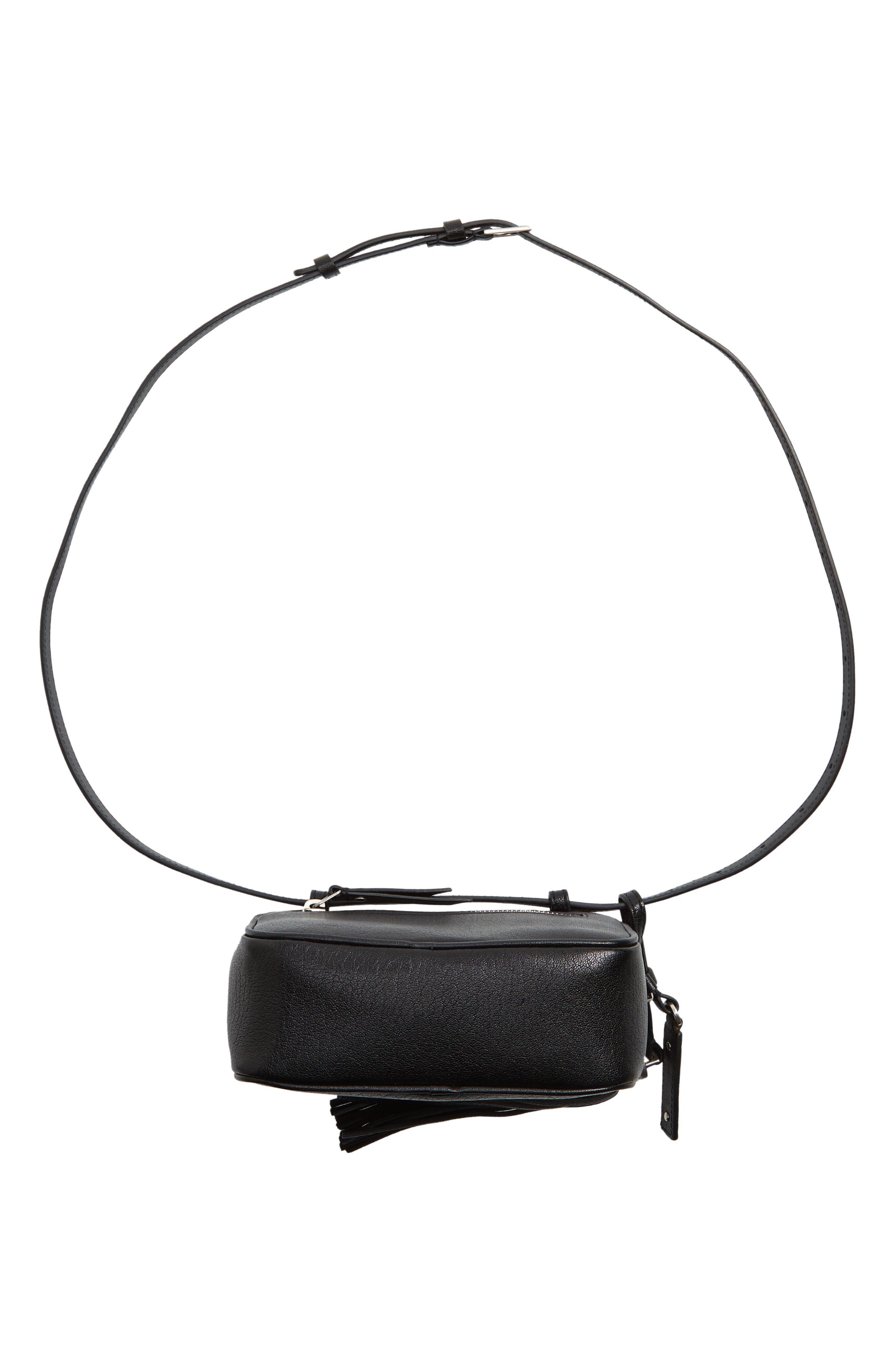 Loulou Tassel Leather Belt Bag,                             Alternate thumbnail 8, color,                             001