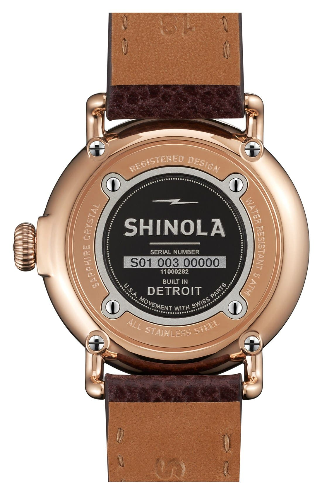 'The Runwell' Leather Strap Watch, 36mm,                             Alternate thumbnail 3, color,                             OXBLOOD/ MIDNIGHT BLUE