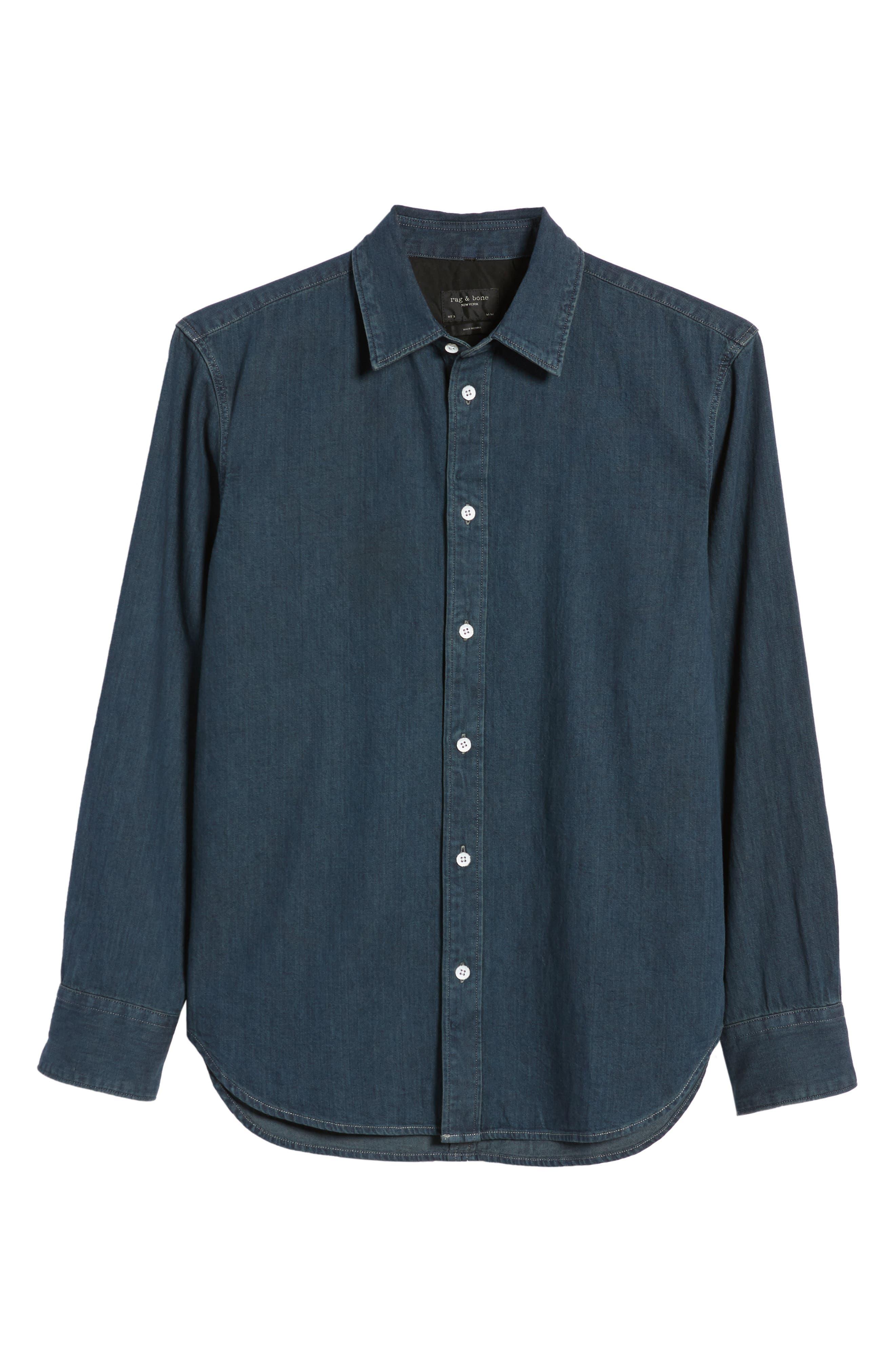 RAG & BONE,                             Fit 3 Denim Sport Shirt,                             Alternate thumbnail 5, color,                             STONE BLUE