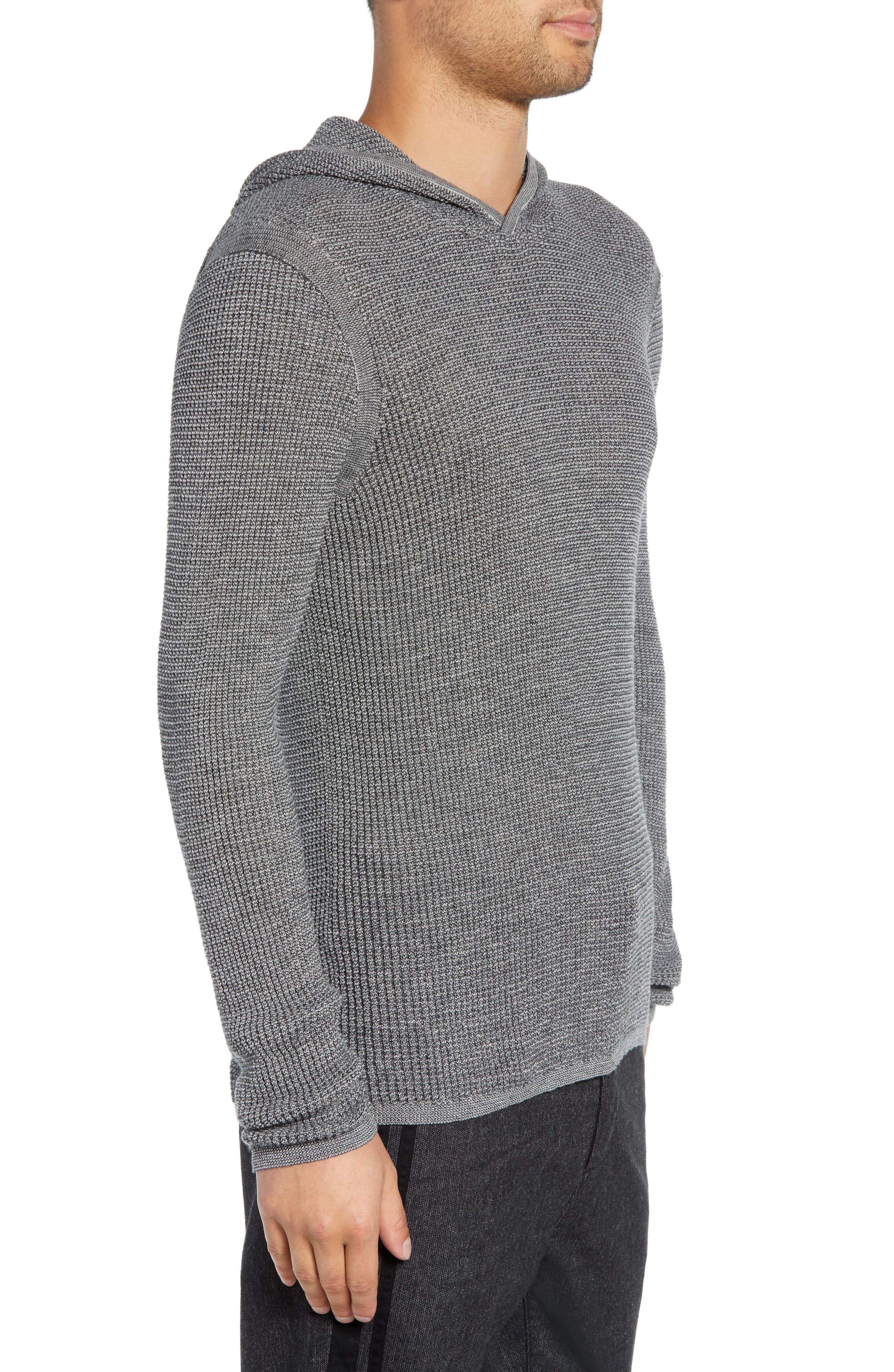 Thermal Hooded Sweater,                             Alternate thumbnail 3, color,                             CHARCOAL HEATHER