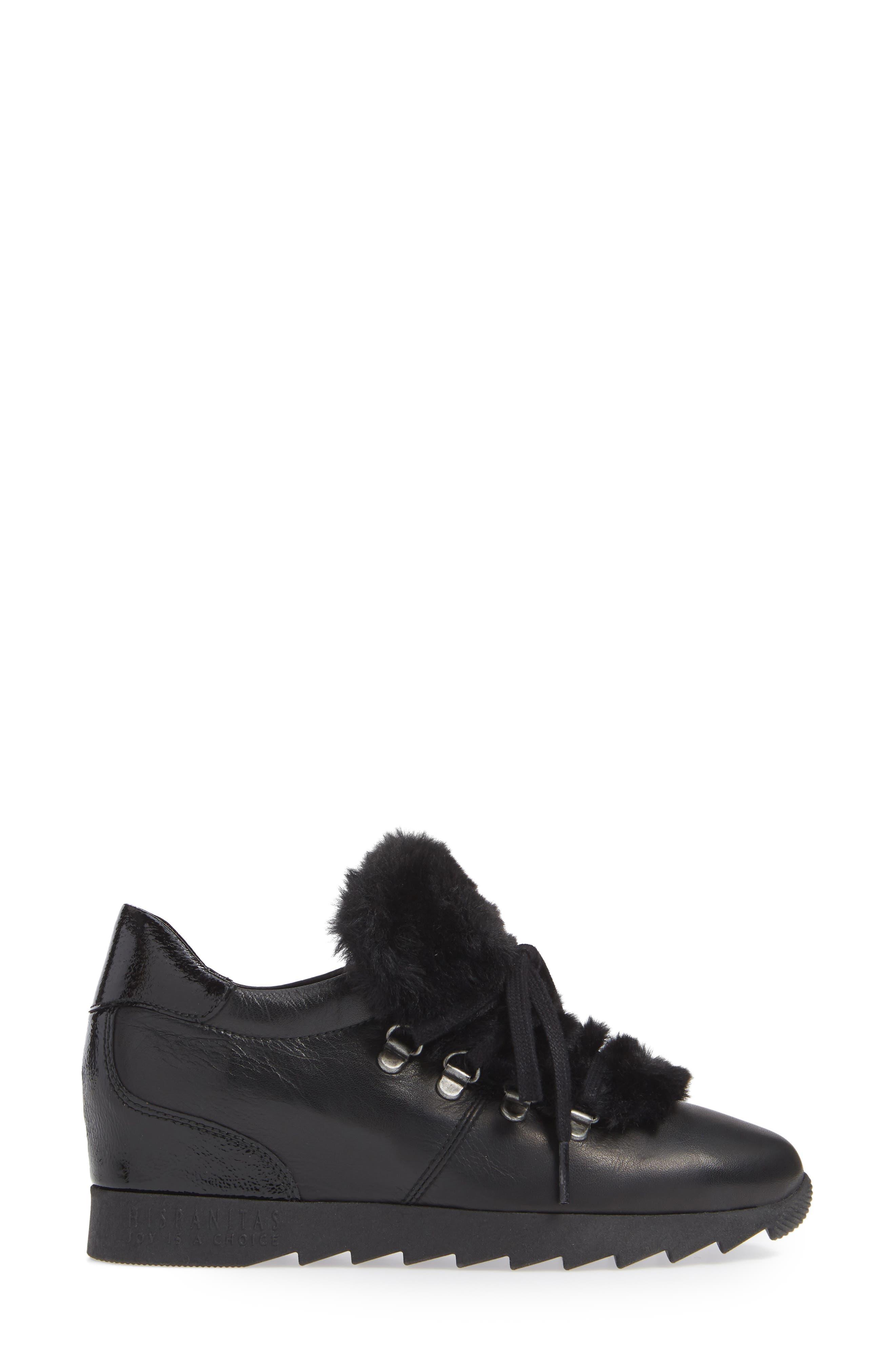 Sadara Wedge Sneaker,                             Alternate thumbnail 3, color,                             SOHO BLACK FAUX FUR