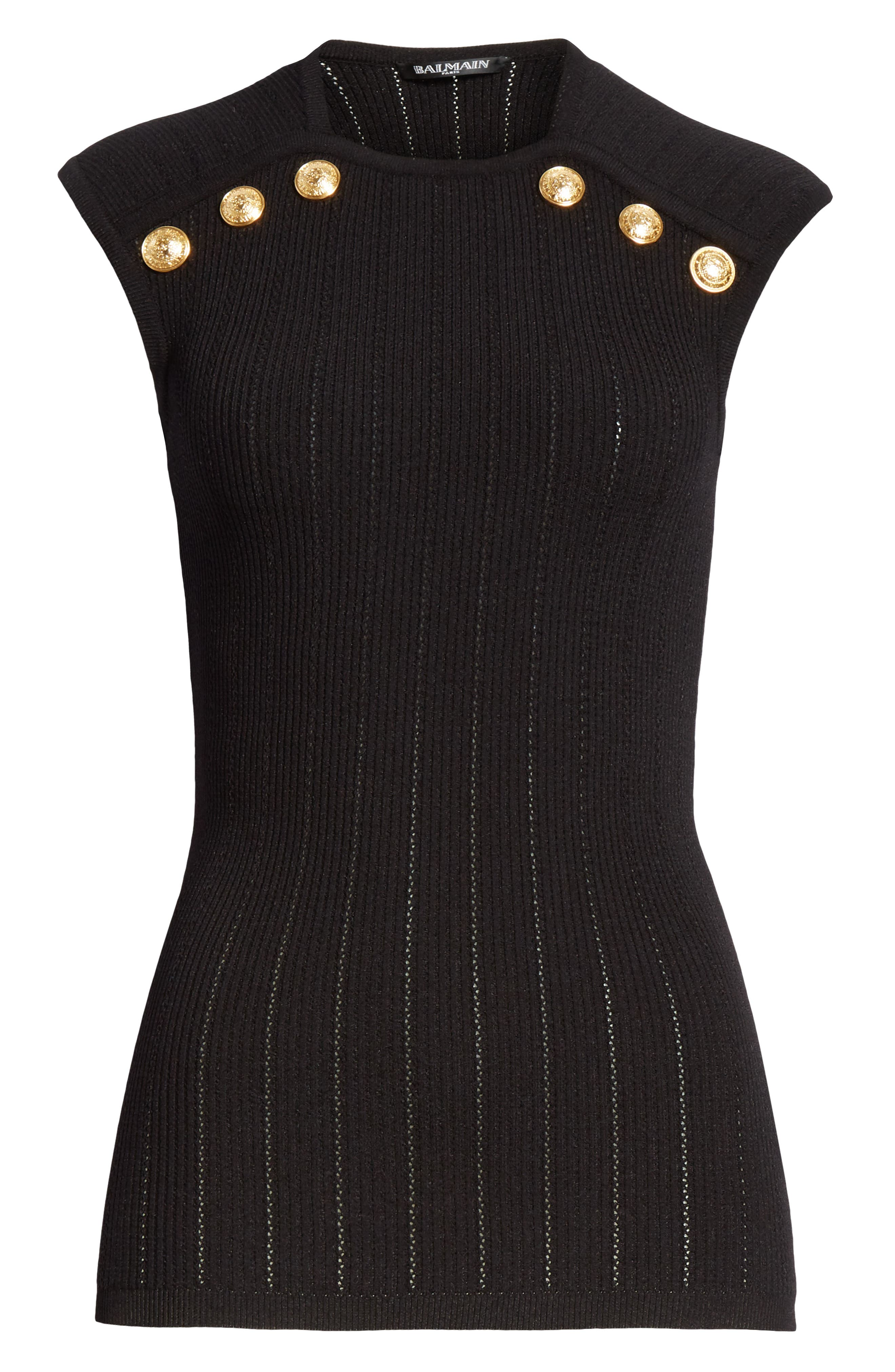 BALMAIN,                             Shoulder Button Rib Knit Top,                             Alternate thumbnail 6, color,                             0PA NOIR