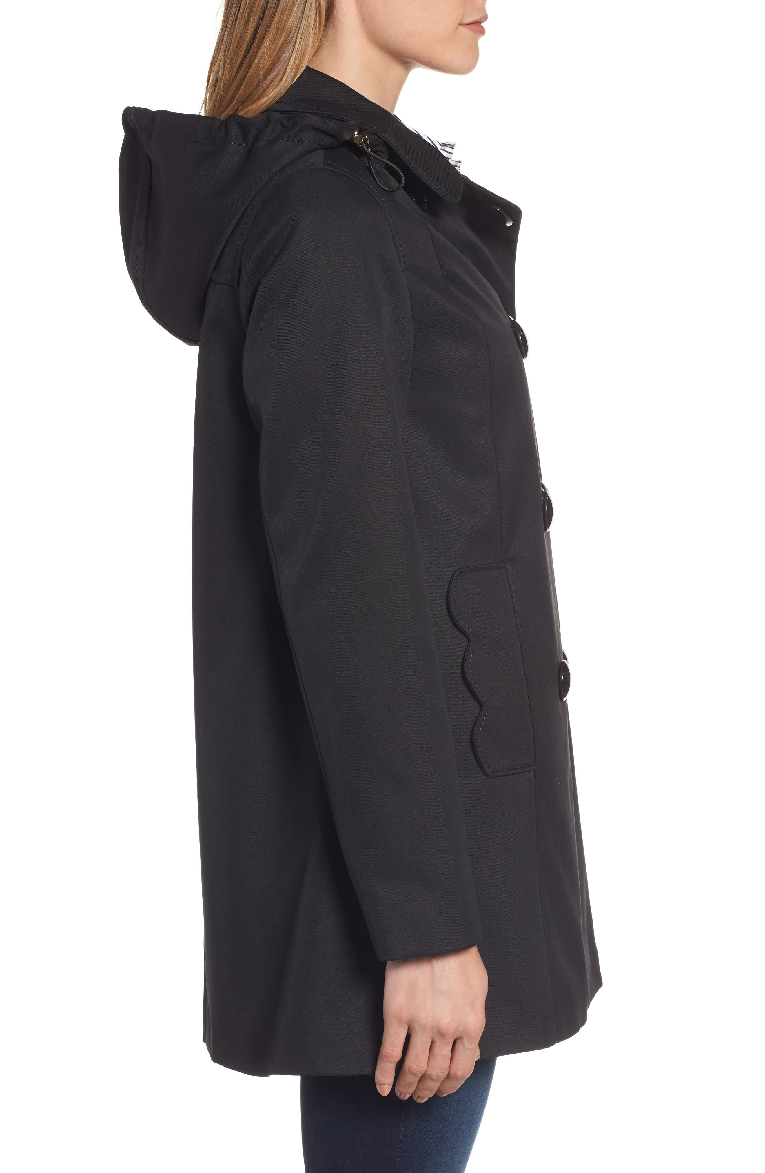 scallop pocket a-line raincoat,                             Alternate thumbnail 3, color,                             001