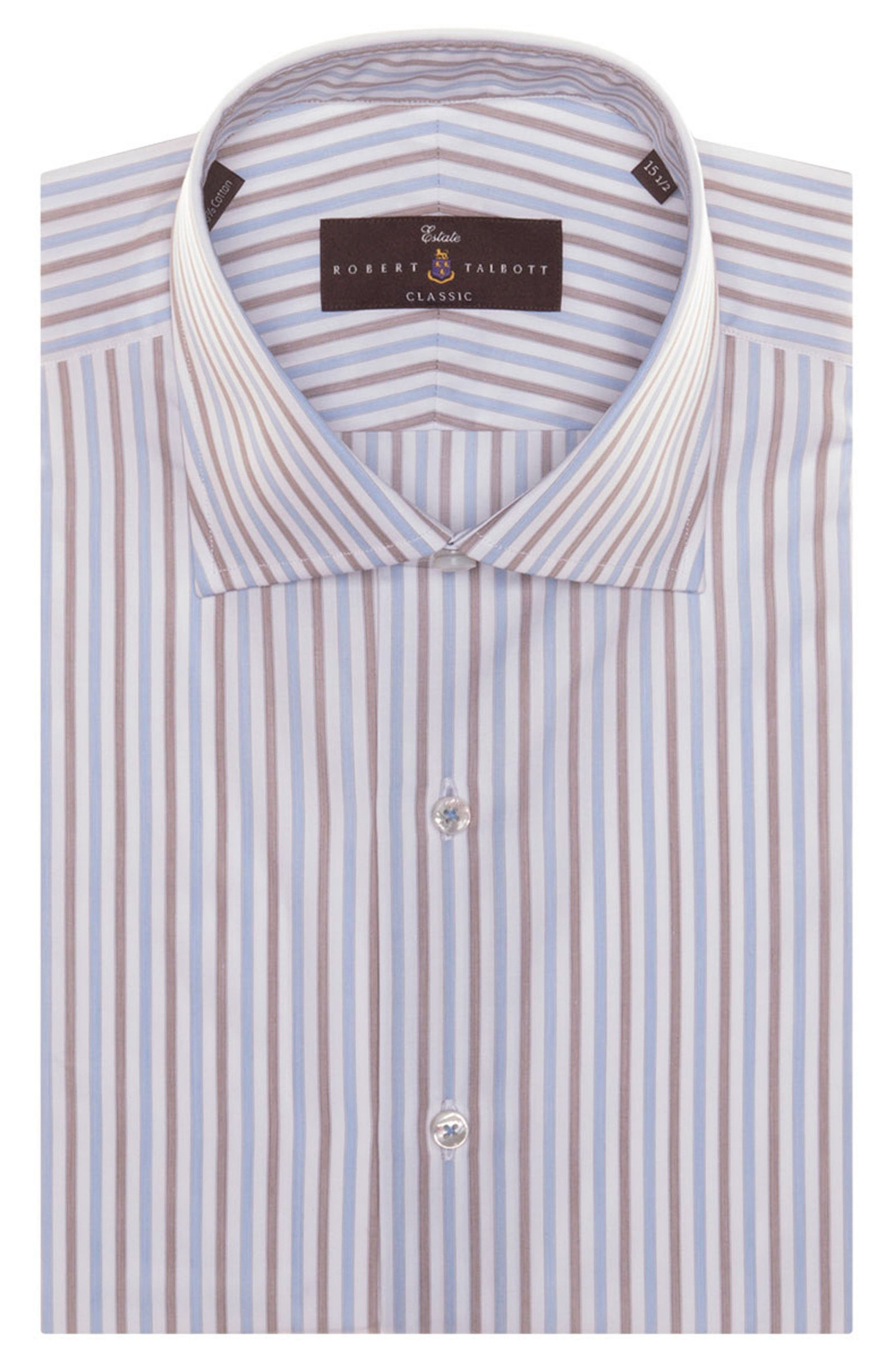 Tailored Fit Stripe Dress Shirt,                         Main,                         color, BARK