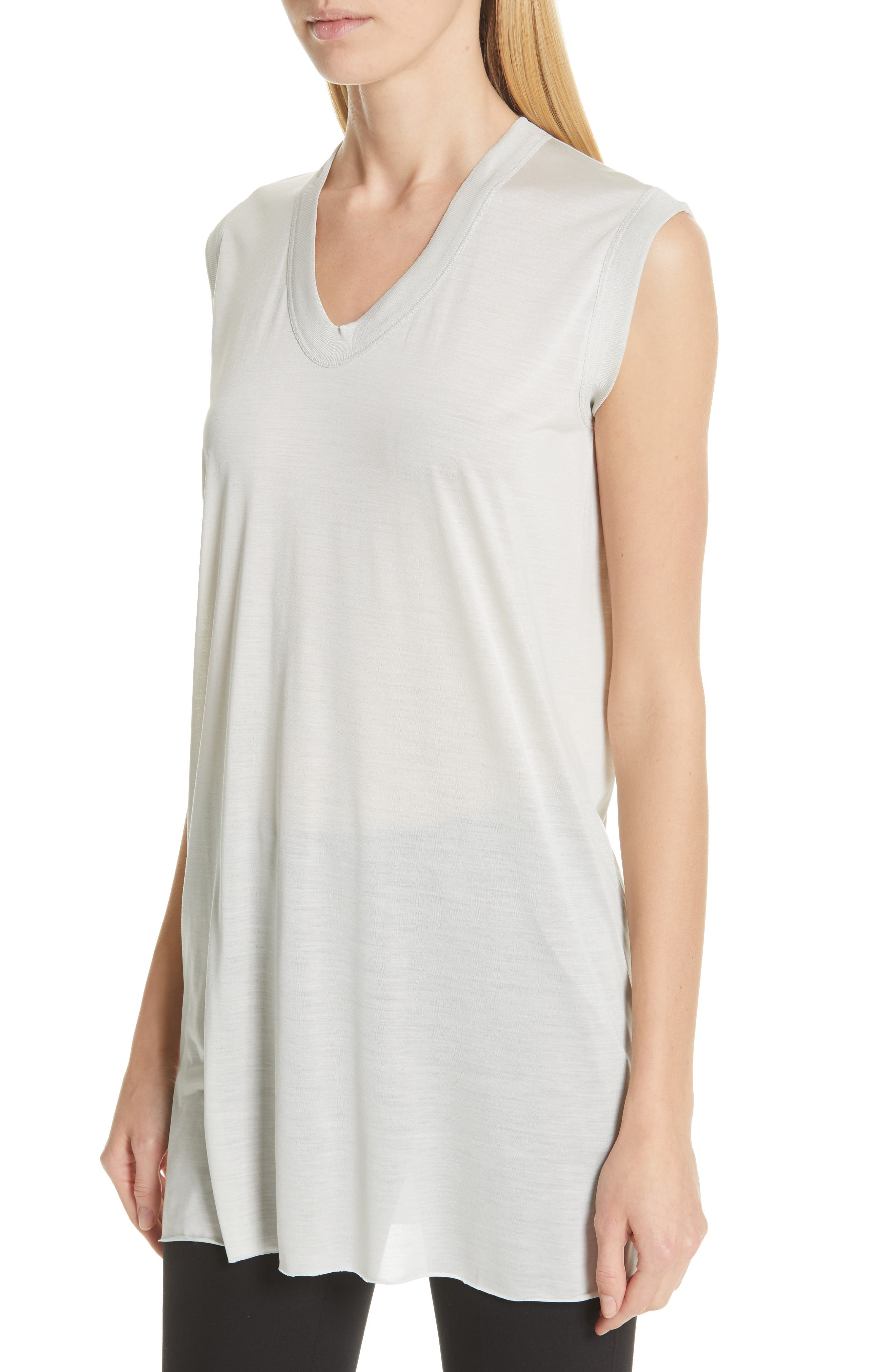 RICK OWENS,                             Silk Jersey Tee,                             Alternate thumbnail 4, color,                             OYSTER