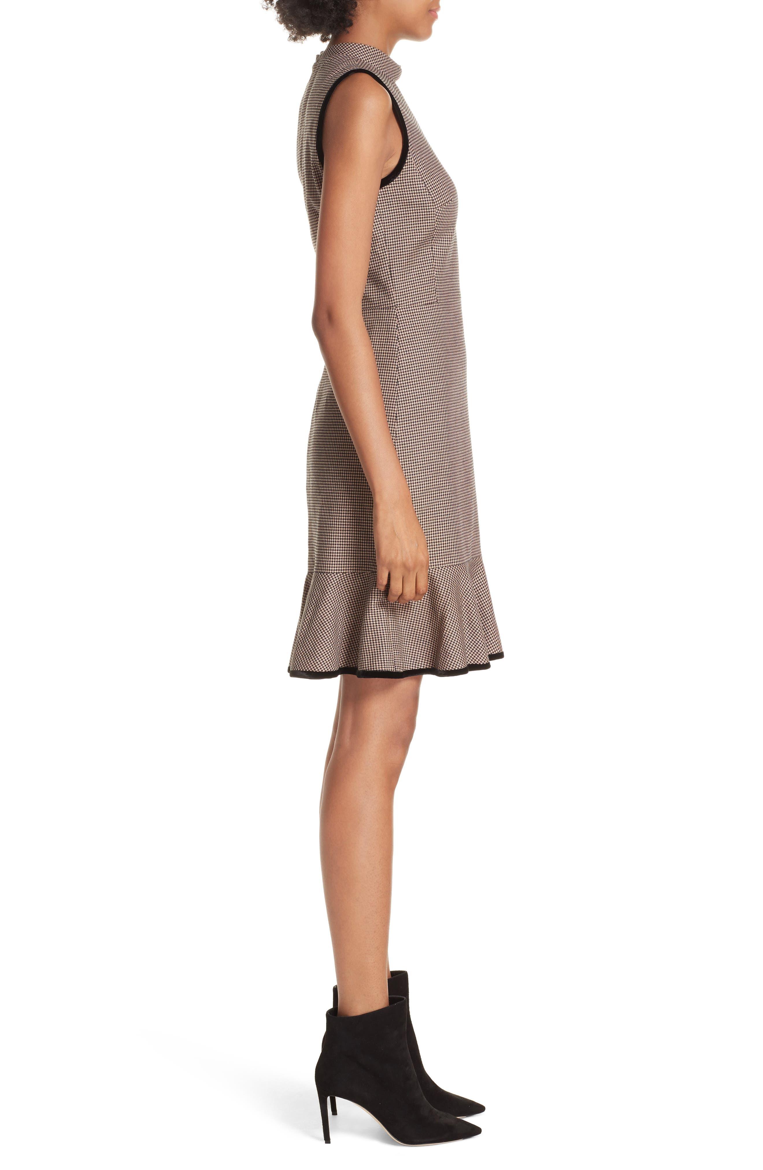 Houndstooth Sheath Dress,                             Alternate thumbnail 3, color,                             CAMEL/ BLACK