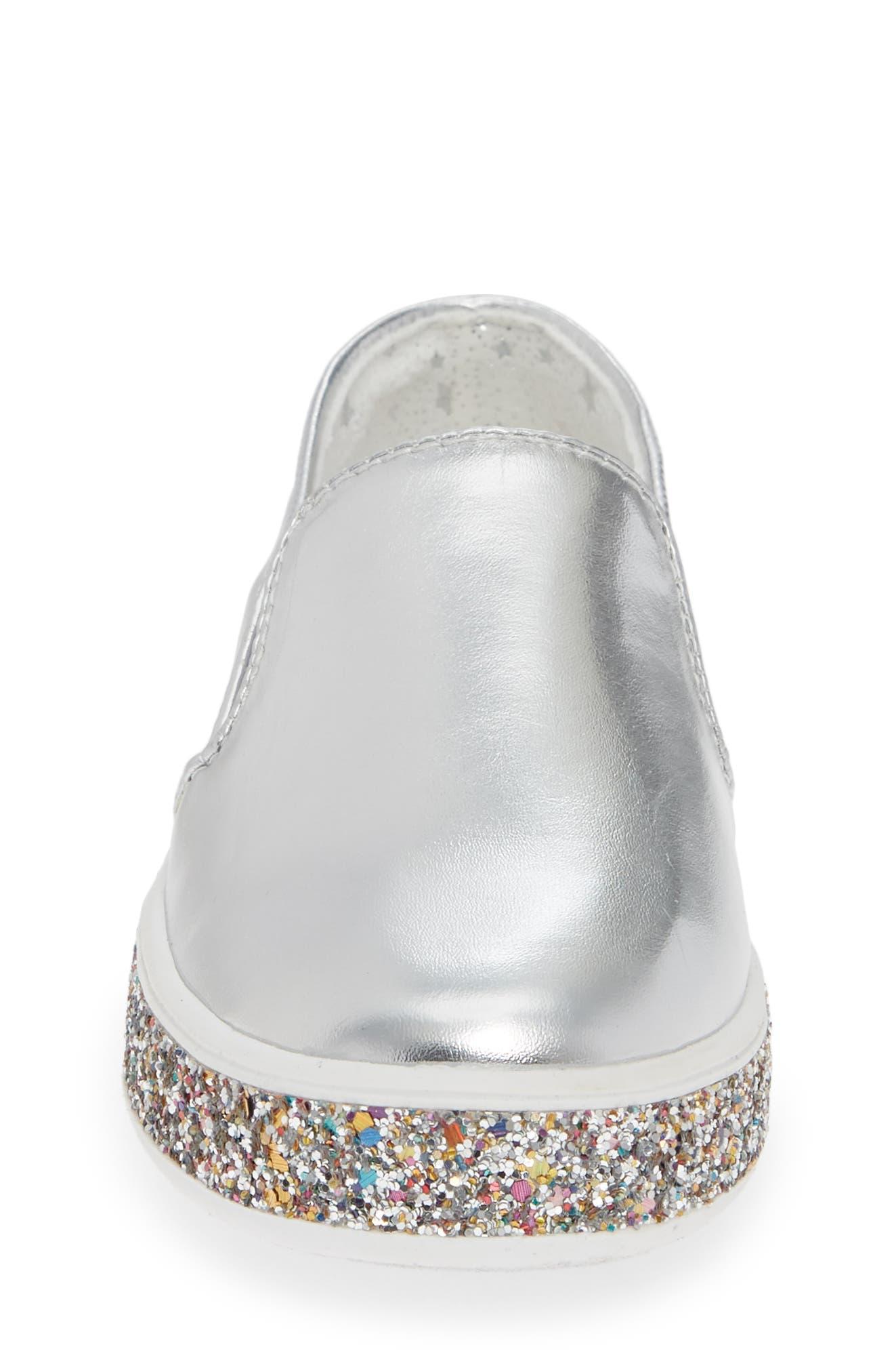 Jglorie Glitter Slip-On Sneaker,                             Alternate thumbnail 4, color,                             SILVER