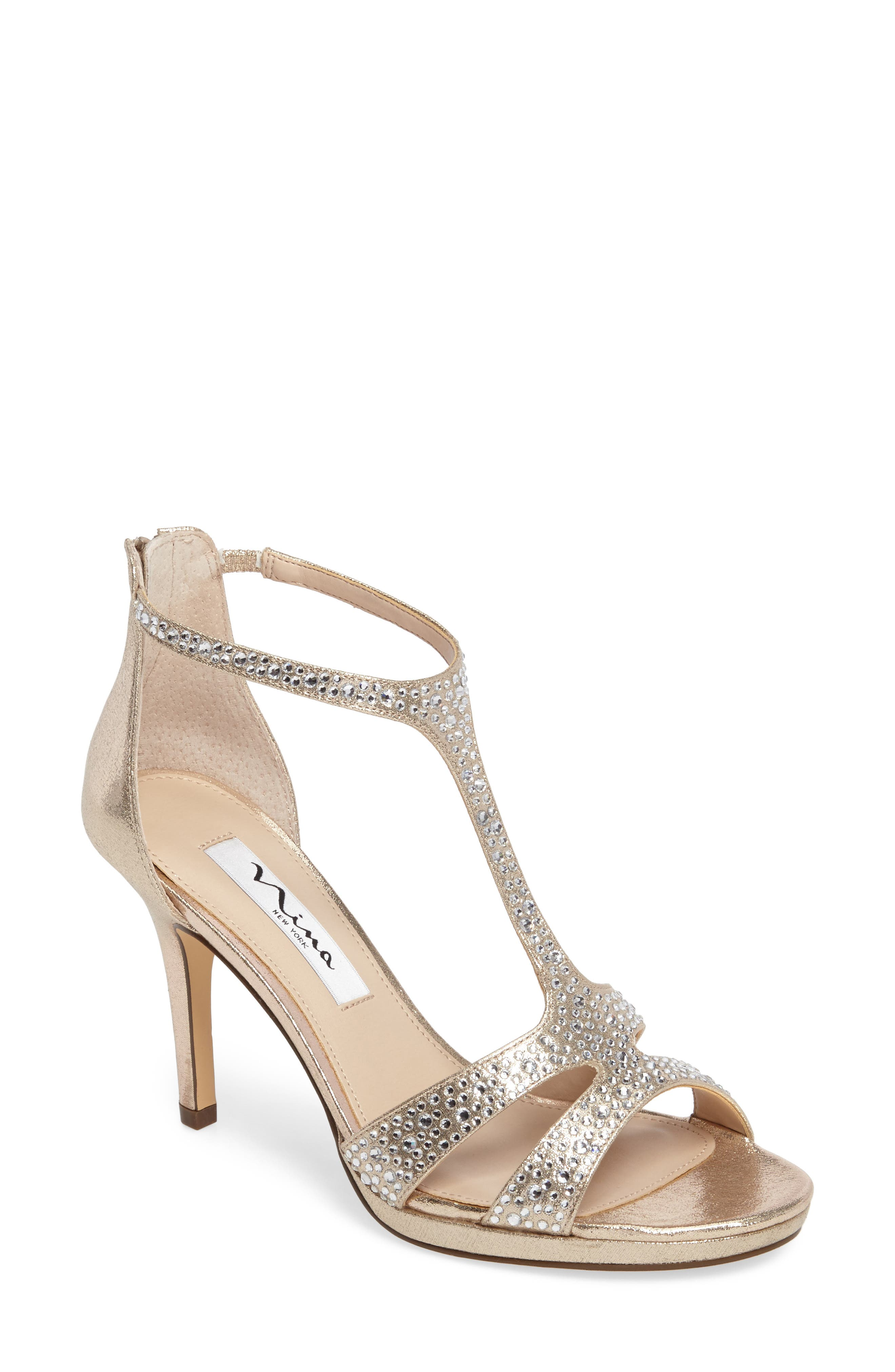Brietta Embellished T-Strap Sandal,                         Main,                         color, TAUPE FABRIC
