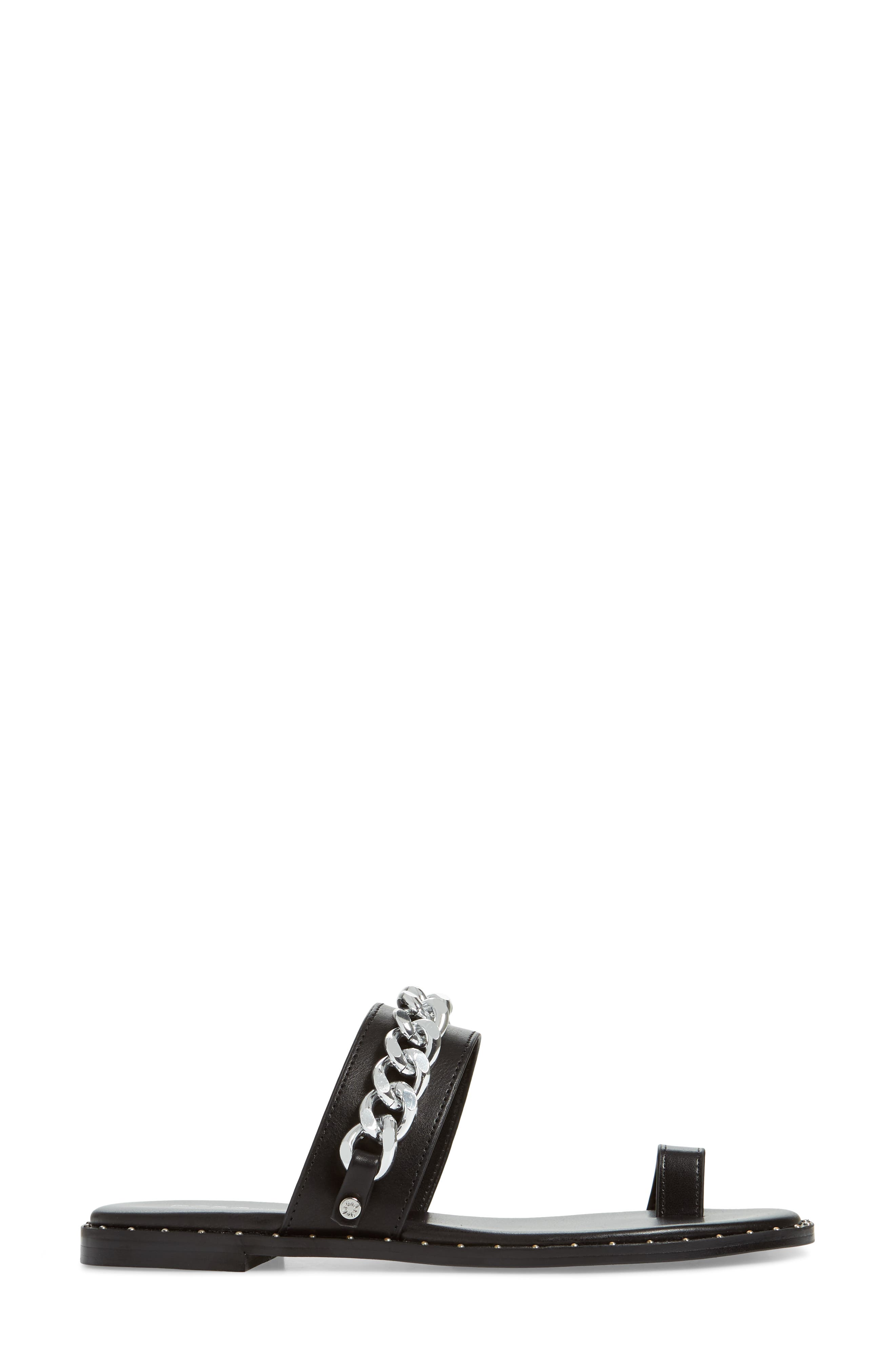 Zola Chain Slide Sandal,                             Alternate thumbnail 3, color,                             BLACK