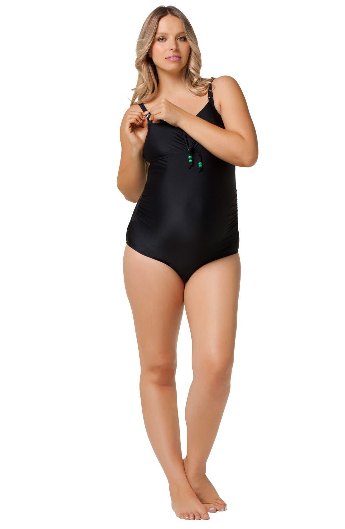 One-Piece Maternity/Nursing Swimsuit,                             Alternate thumbnail 4, color,