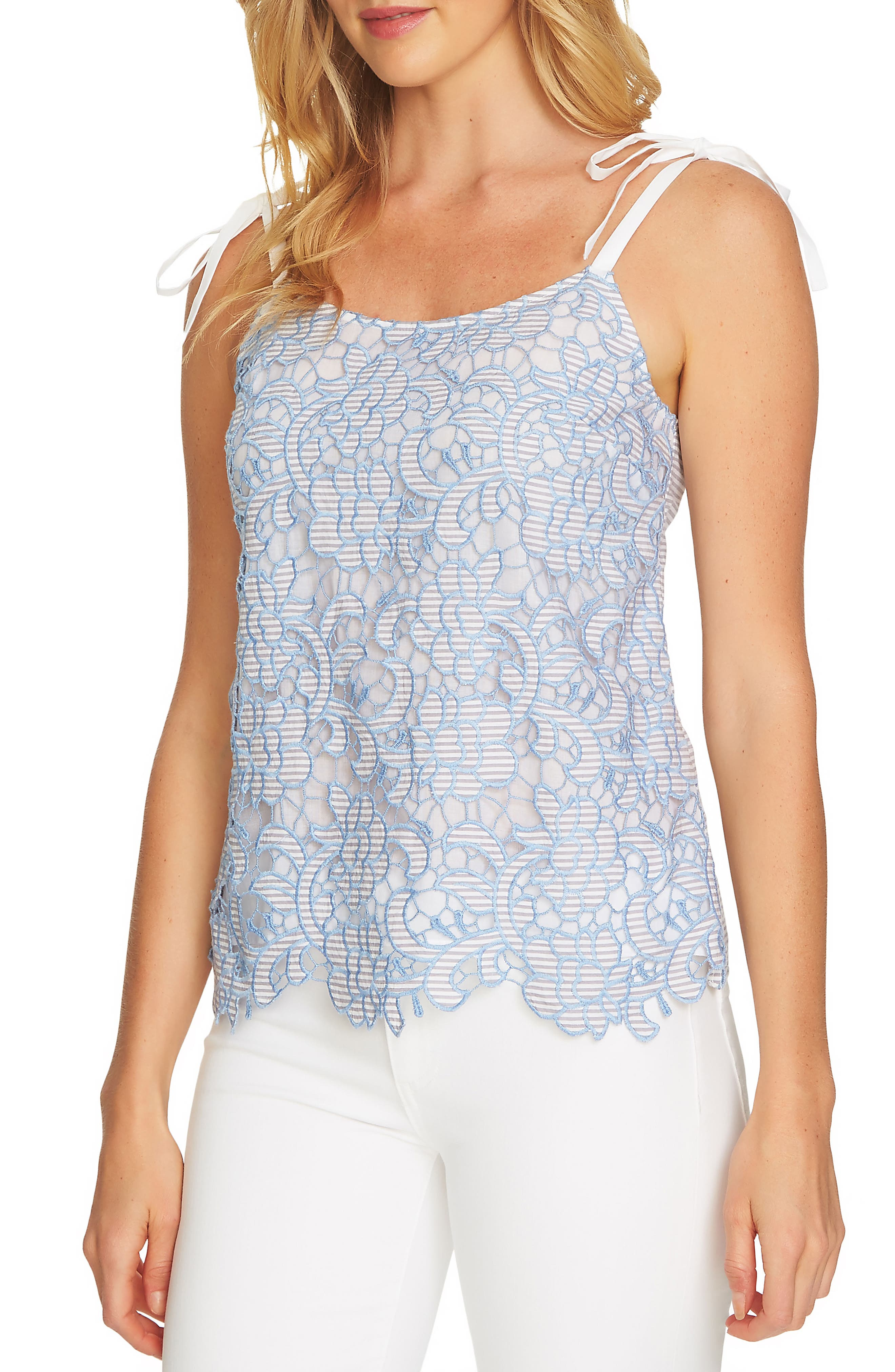 Embroidered Lace Tie Shoulder Top,                         Main,                         color,