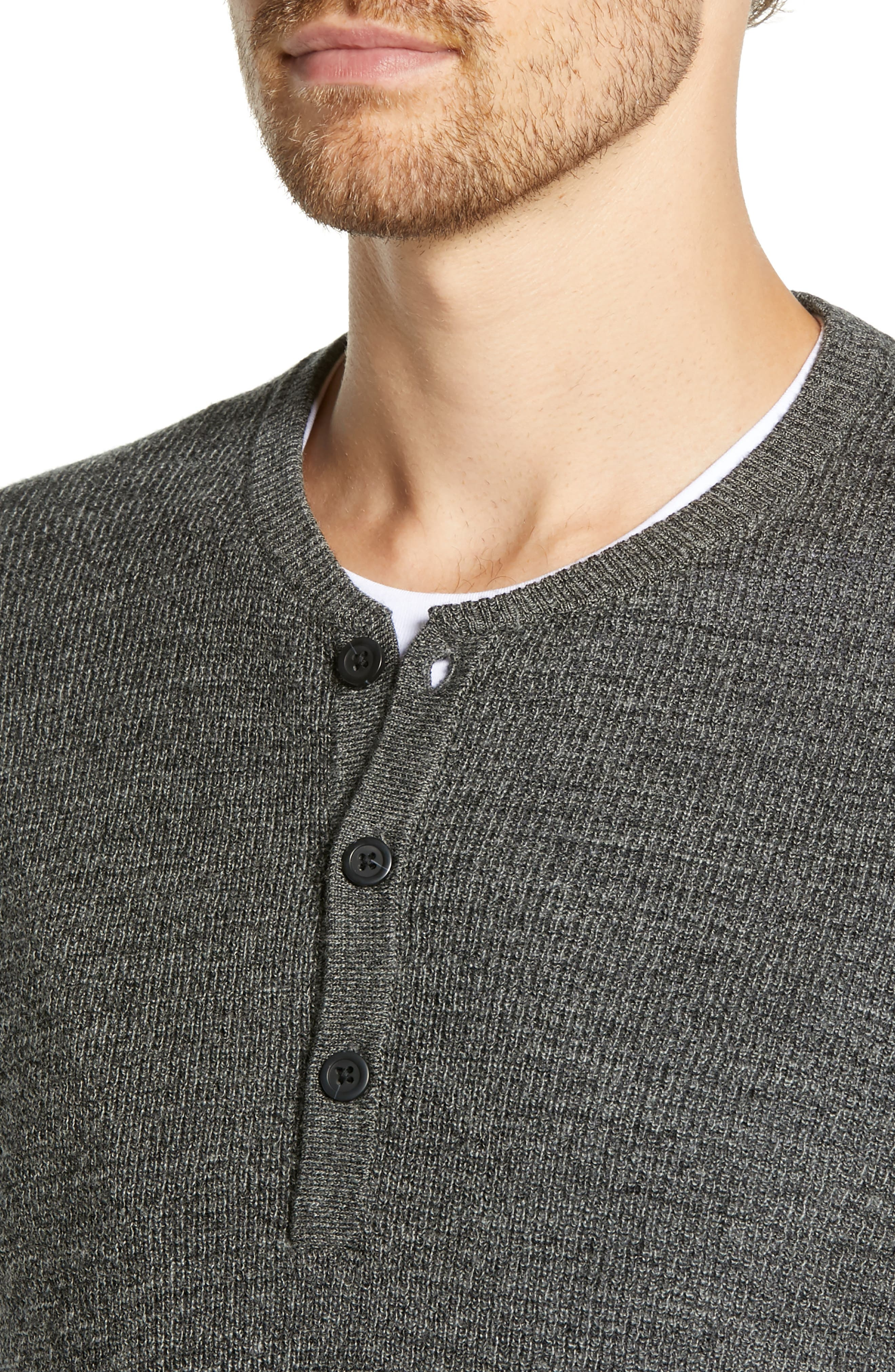 Merino Wool Blend Thermal Henley,                             Alternate thumbnail 4, color,                             GREY PHANTOM