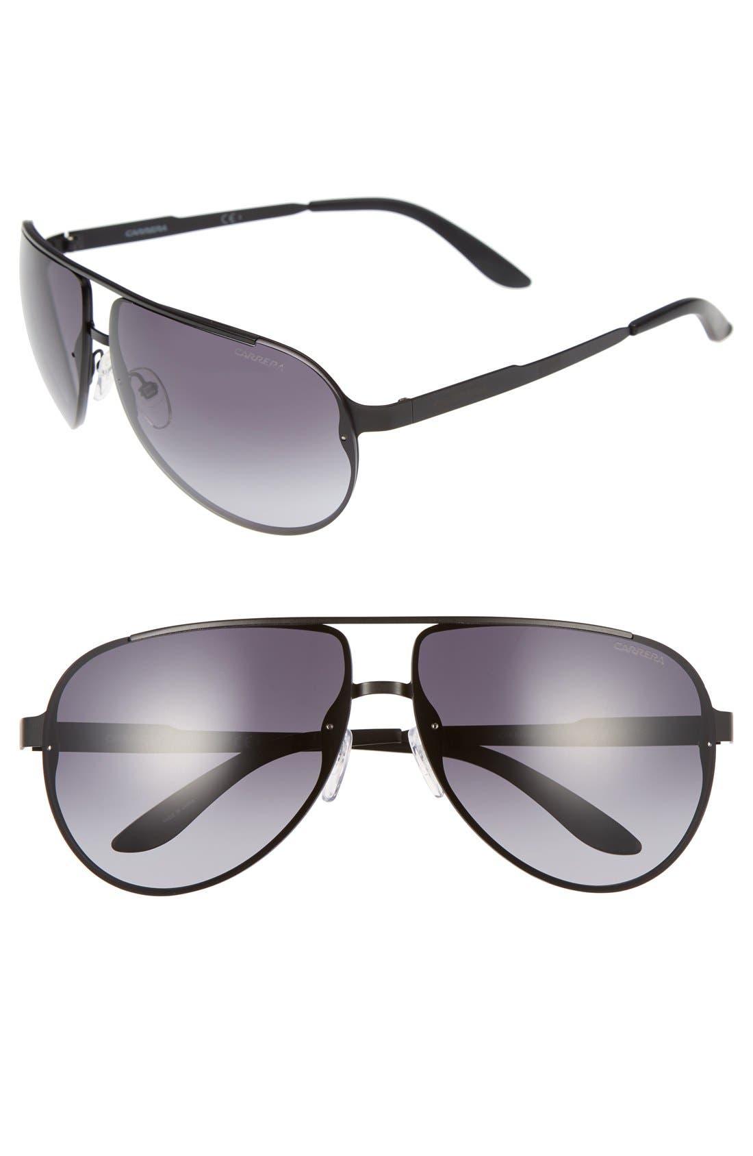 CA102 65mm Aviator Sunglasses,                             Alternate thumbnail 4, color,                             001