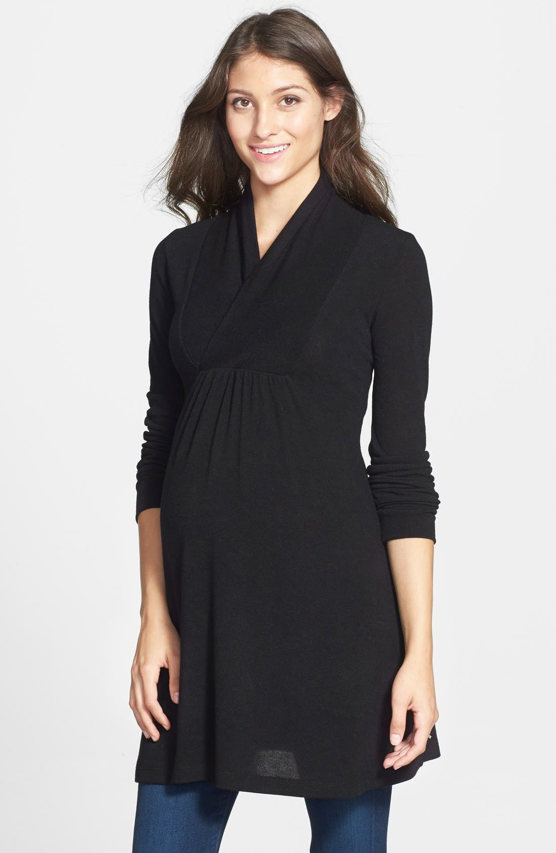'Tanya' Jersey Maternity Tunic,                         Main,                         color, BLACK