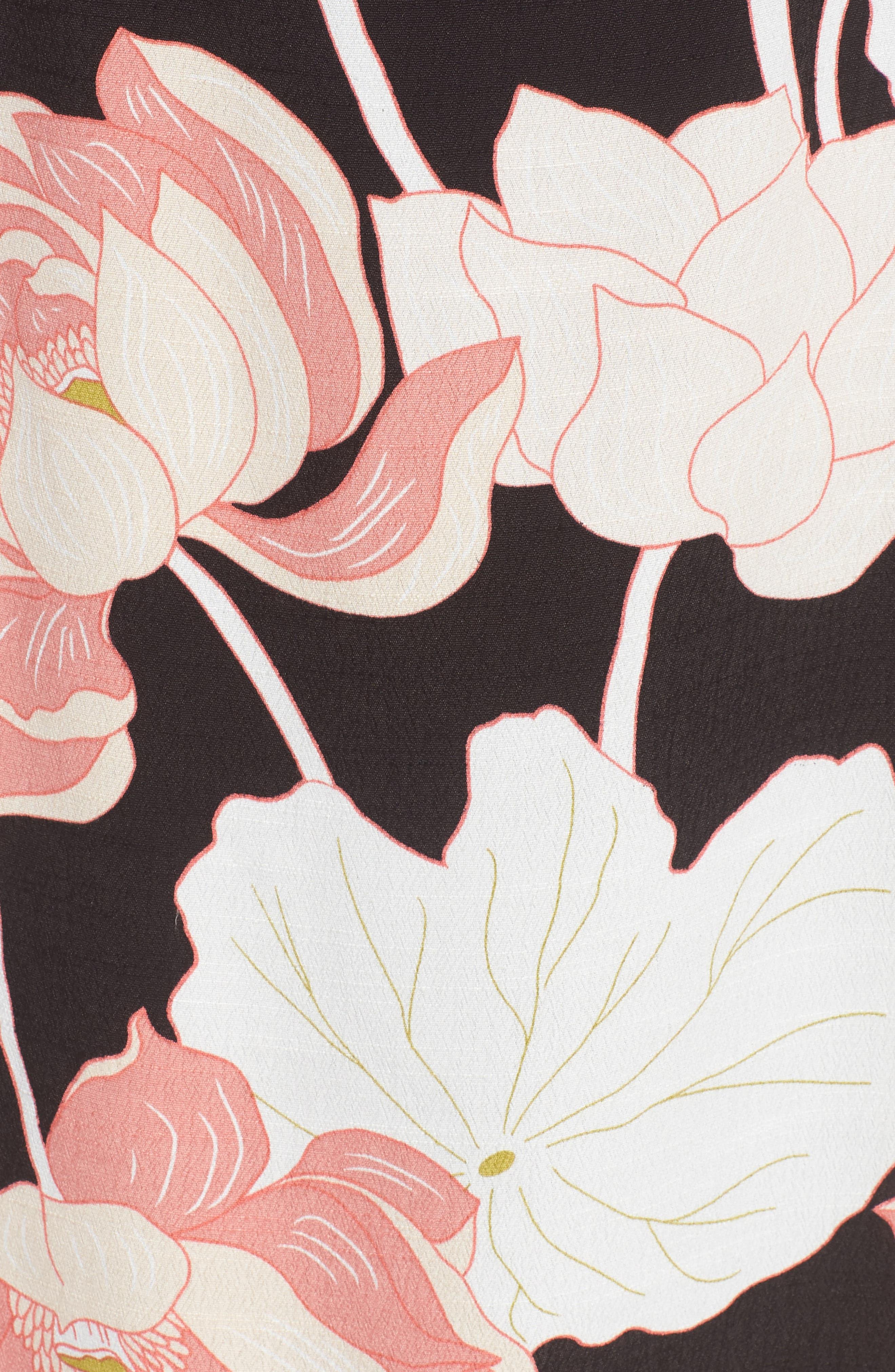 Chayene Water Lilies Wrap Dress,                             Alternate thumbnail 5, color,                             BLACK