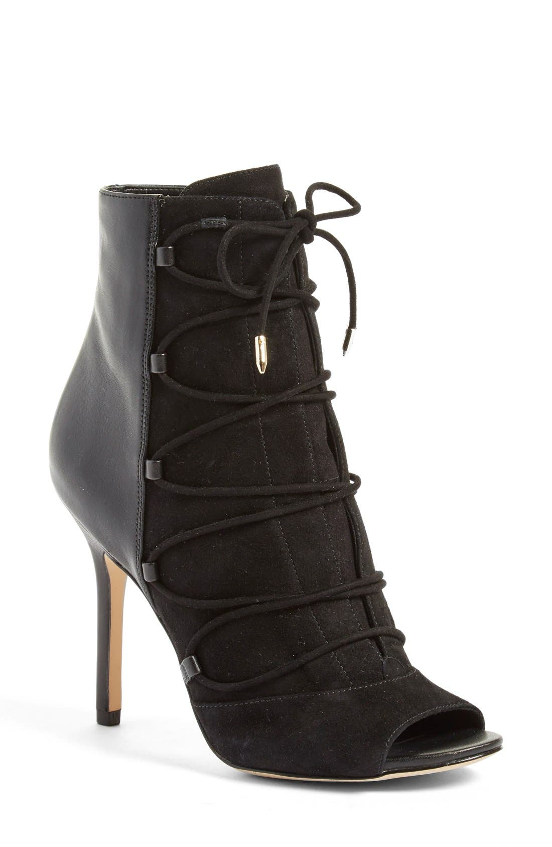 'Asher' Open Toe Bootie,                             Main thumbnail 1, color,                             001