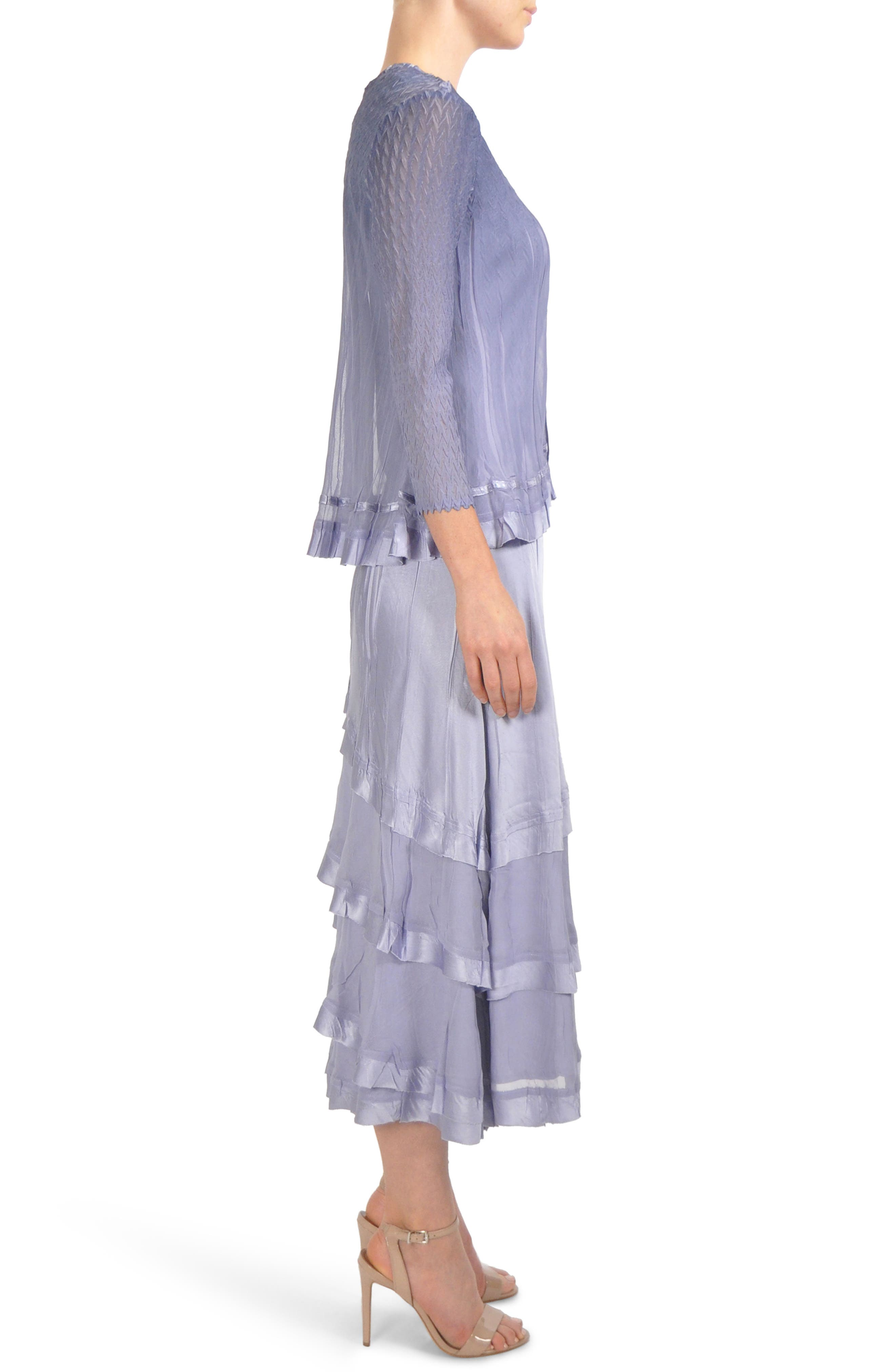 Charmeuse & Chiffon Tiered Hem Dress with Jacket,                             Alternate thumbnail 3, color,                             LAVENDER GREY BLUE OMBRE