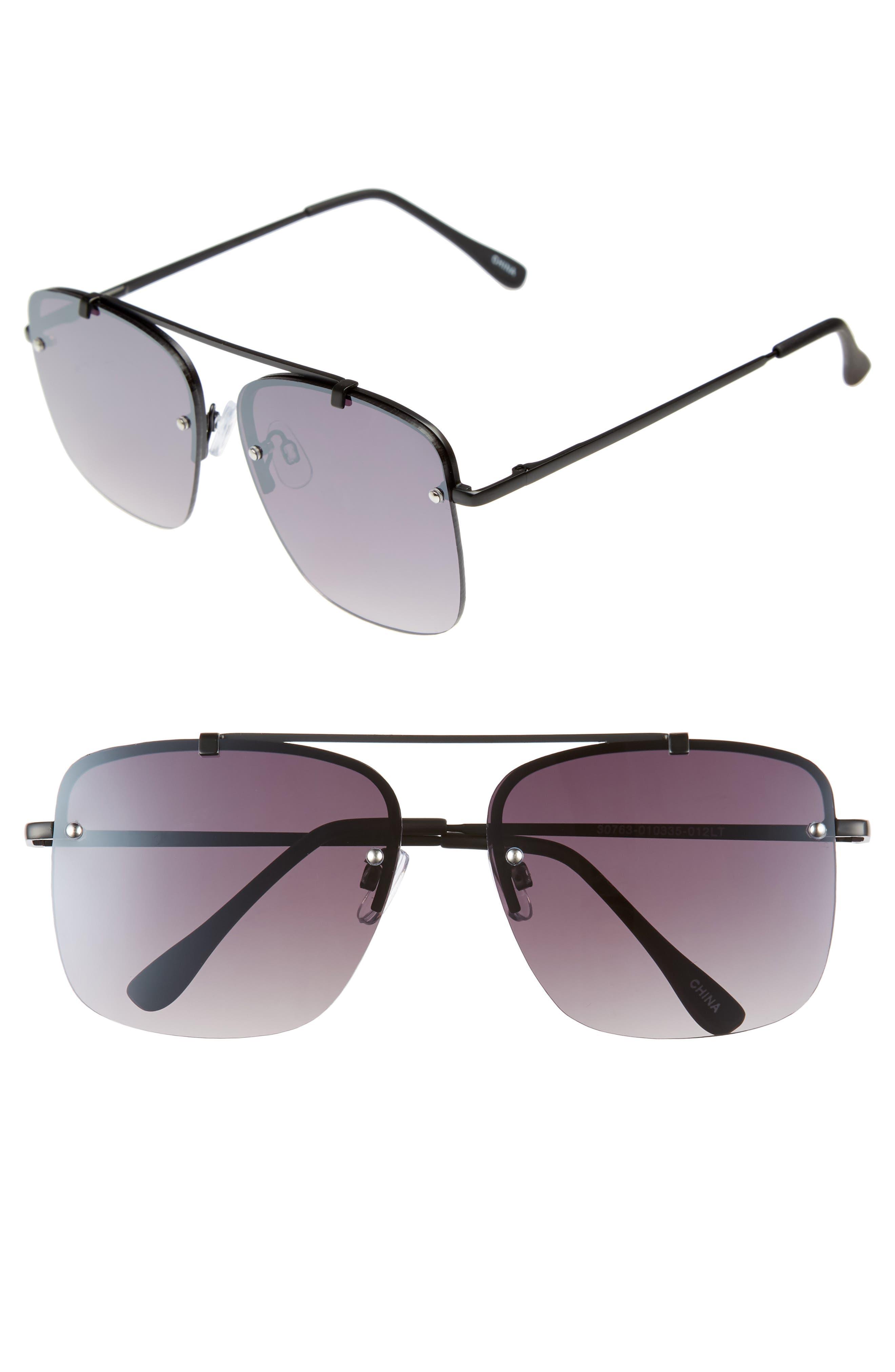 Rimless Square Sunglasses,                         Main,                         color, BLACK/ BLACK