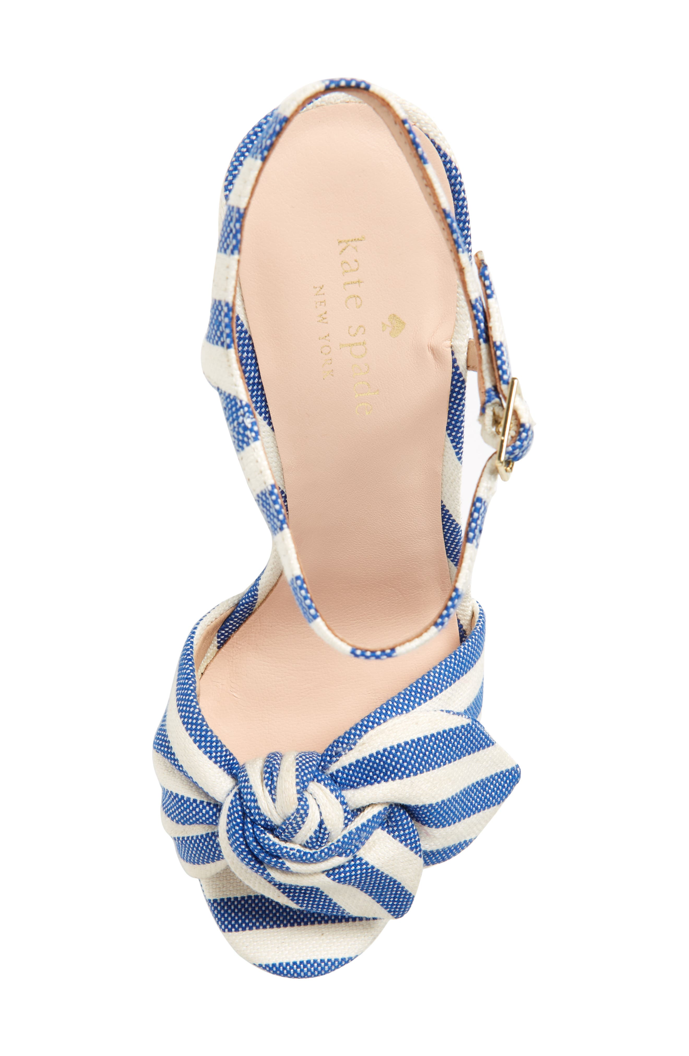 janae knot platform wedge sandal,                             Alternate thumbnail 5, color,                             BLUE/CREAM STRIPE