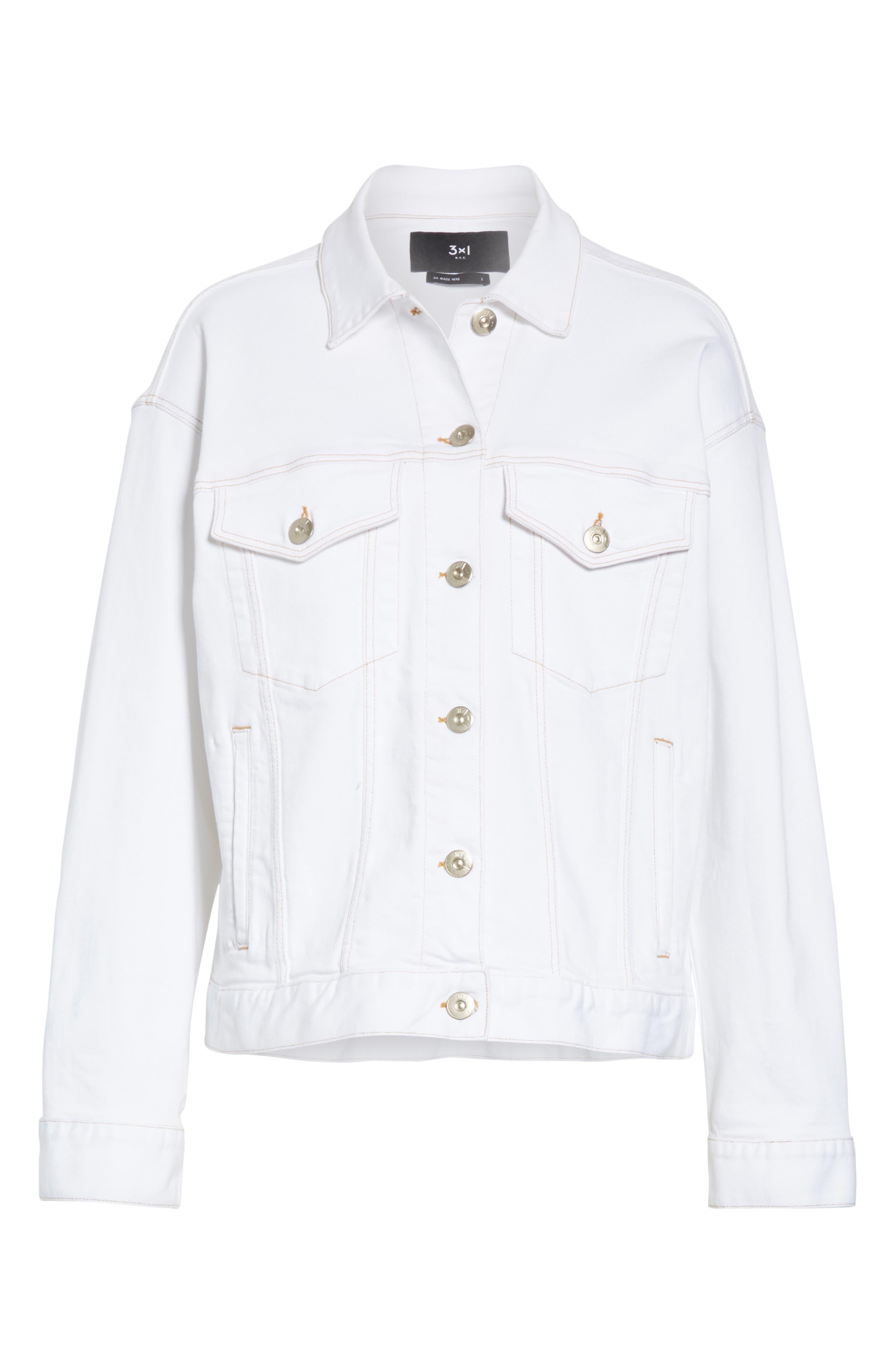 3X1 NYC,                             Oversize Denim Trucker Jacket,                             Alternate thumbnail 5, color,                             WINTER WHITE