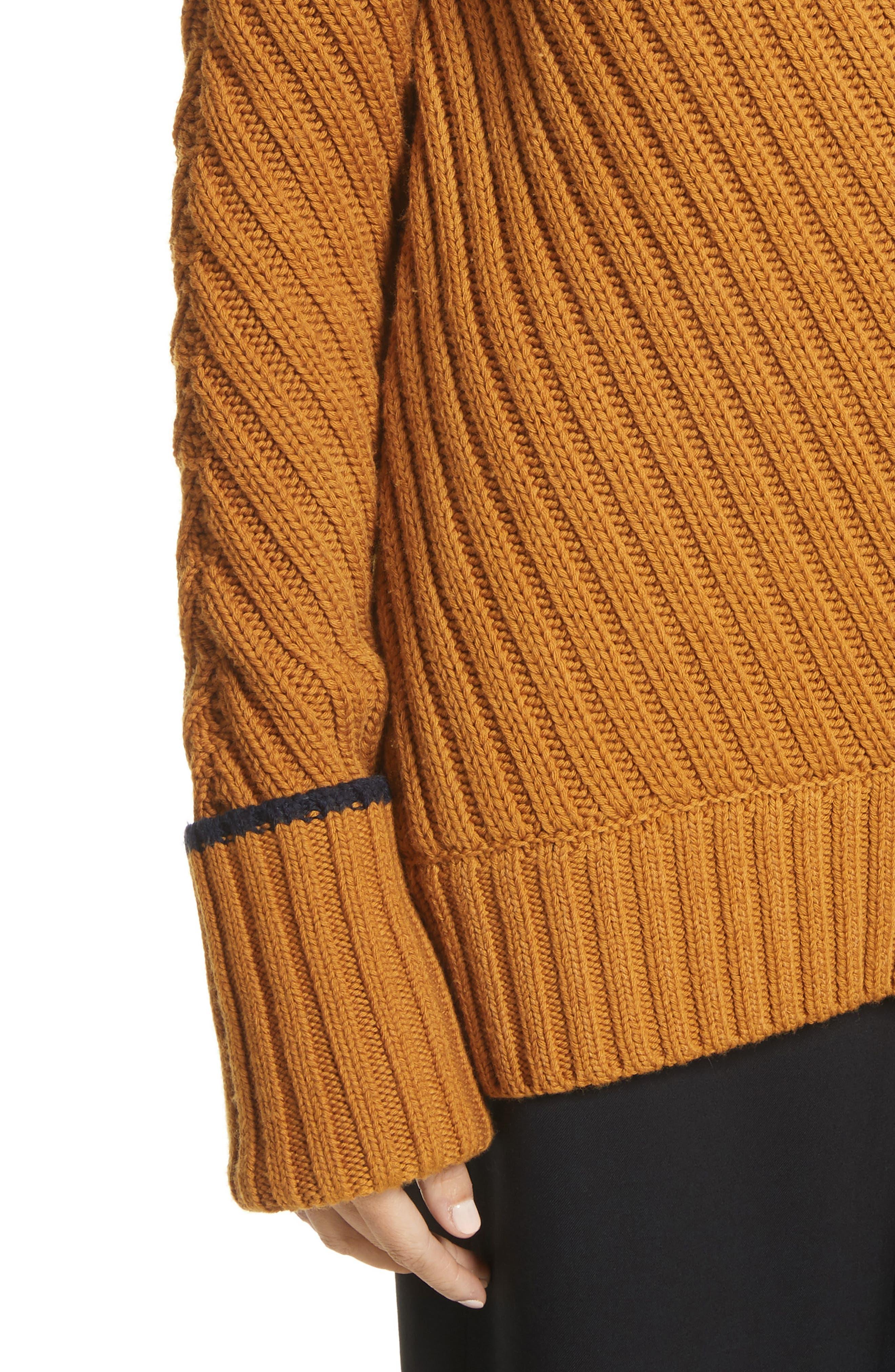 Rib Knit Wool Blend Sweater,                             Alternate thumbnail 4, color,                             466