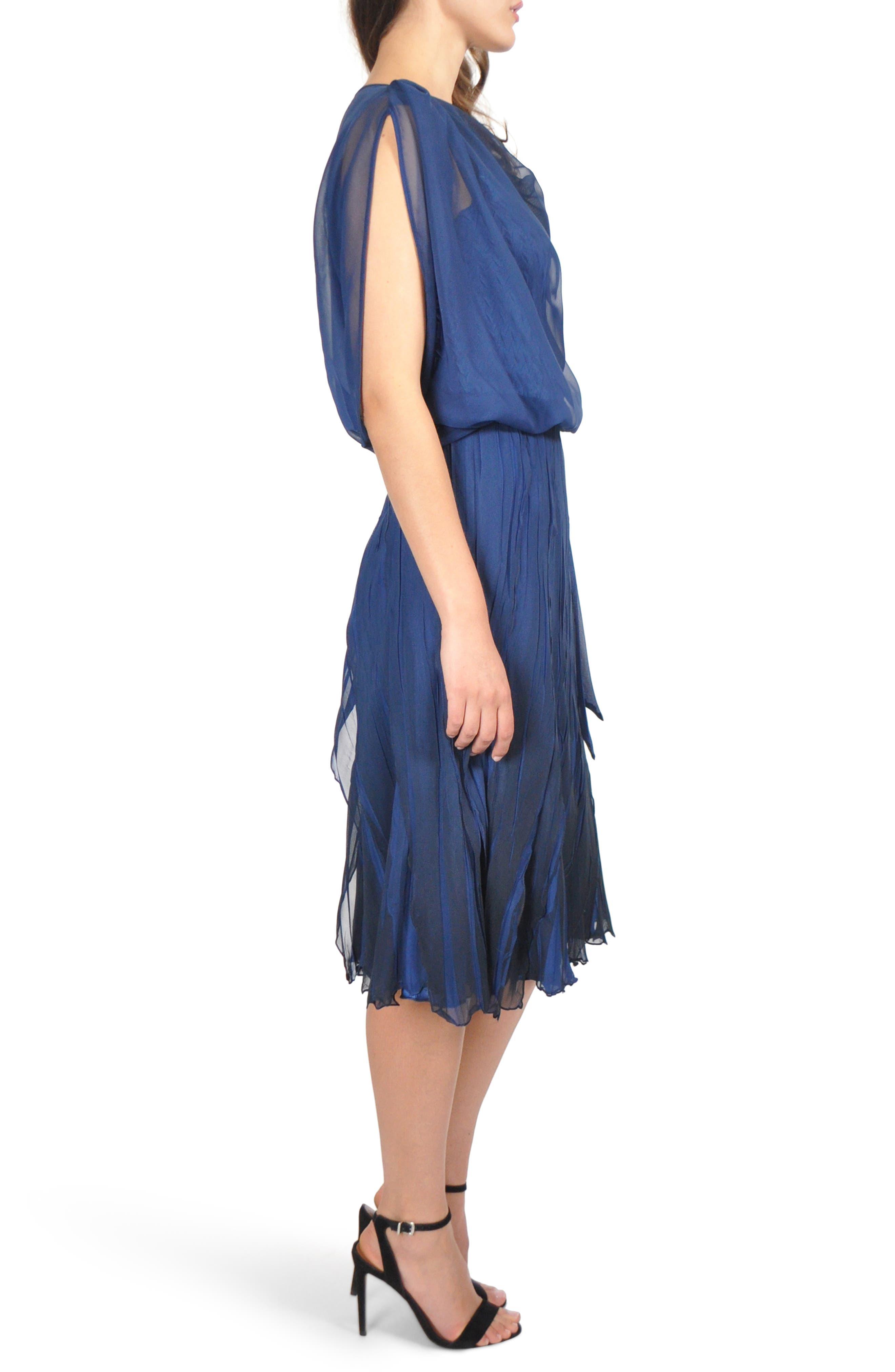 Blouson Tiered Dress,                             Alternate thumbnail 3, color,                             NAVY BLACK OMBRE
