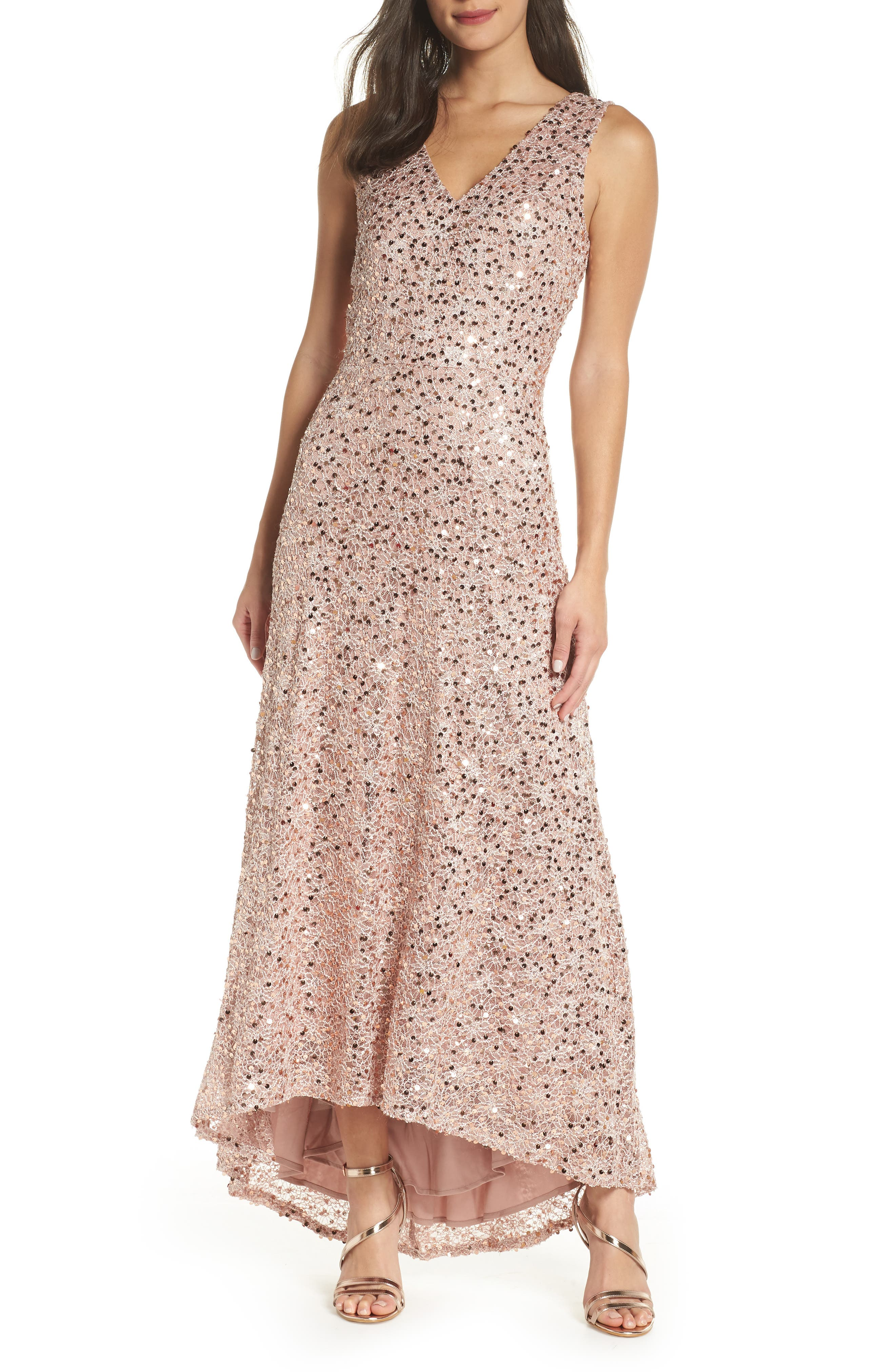 Morgan & Co. Sequin & Lace High/low Gown, Metallic