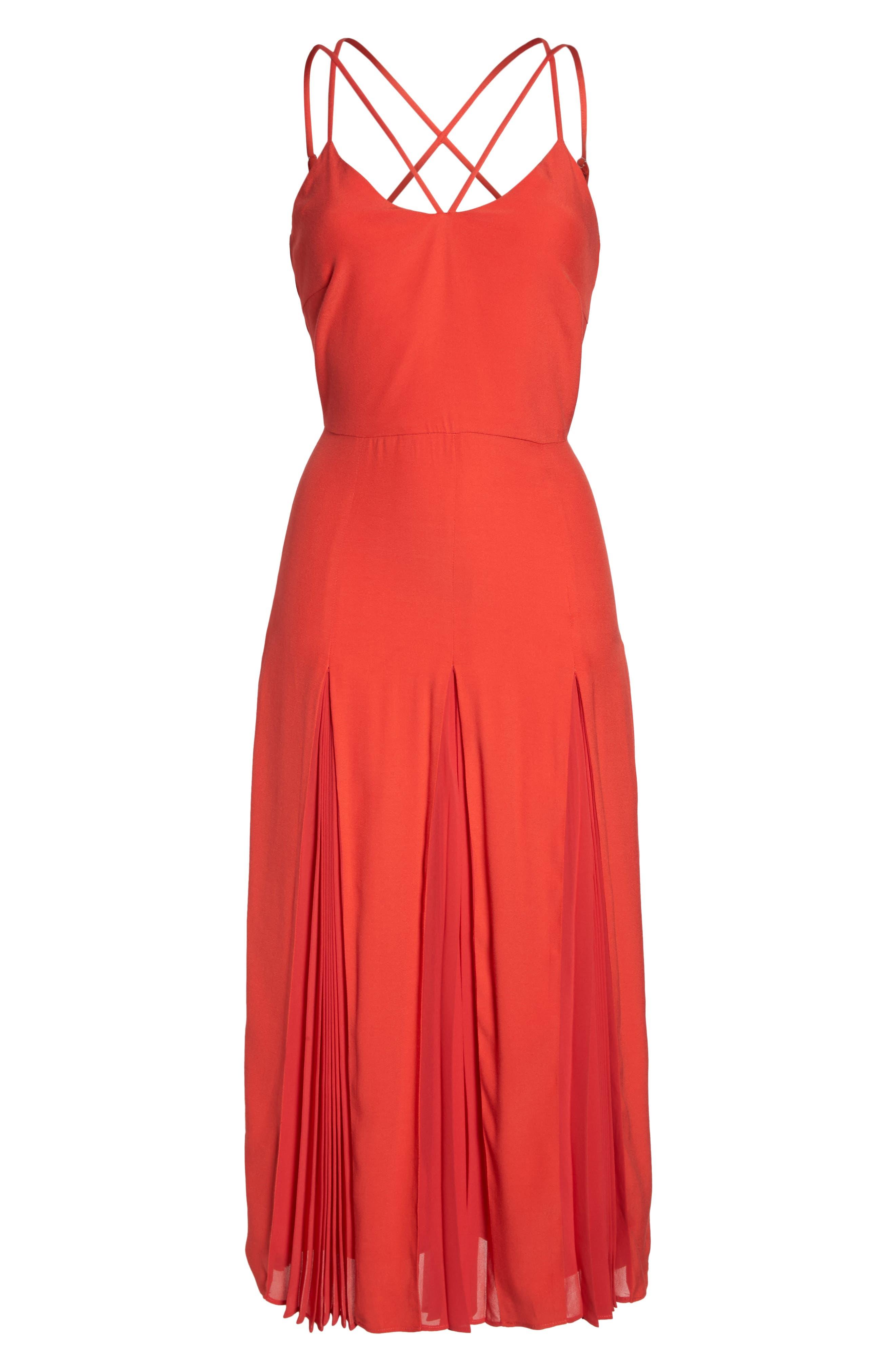 Pleated Godet Midi Dress,                             Alternate thumbnail 6, color,                             602