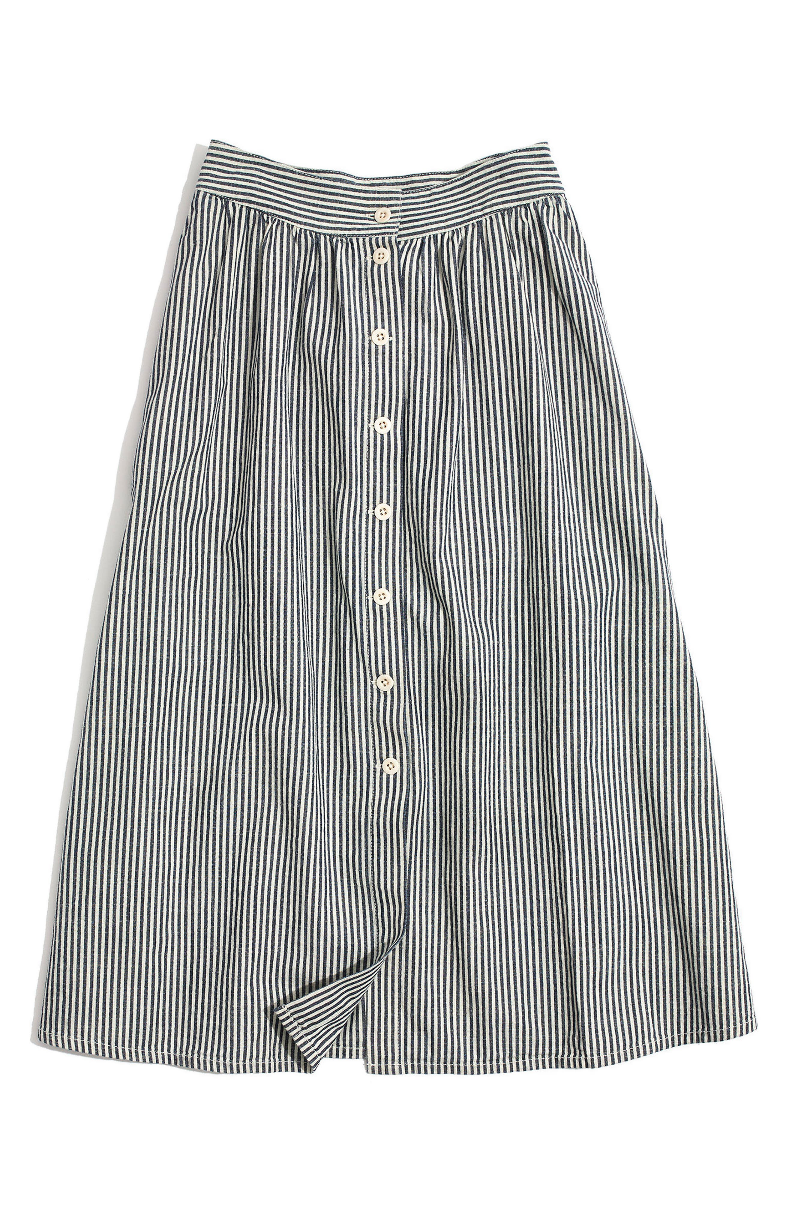 Palisade Chambray Stripe Button Front Midi Skirt,                             Alternate thumbnail 3, color,                             400