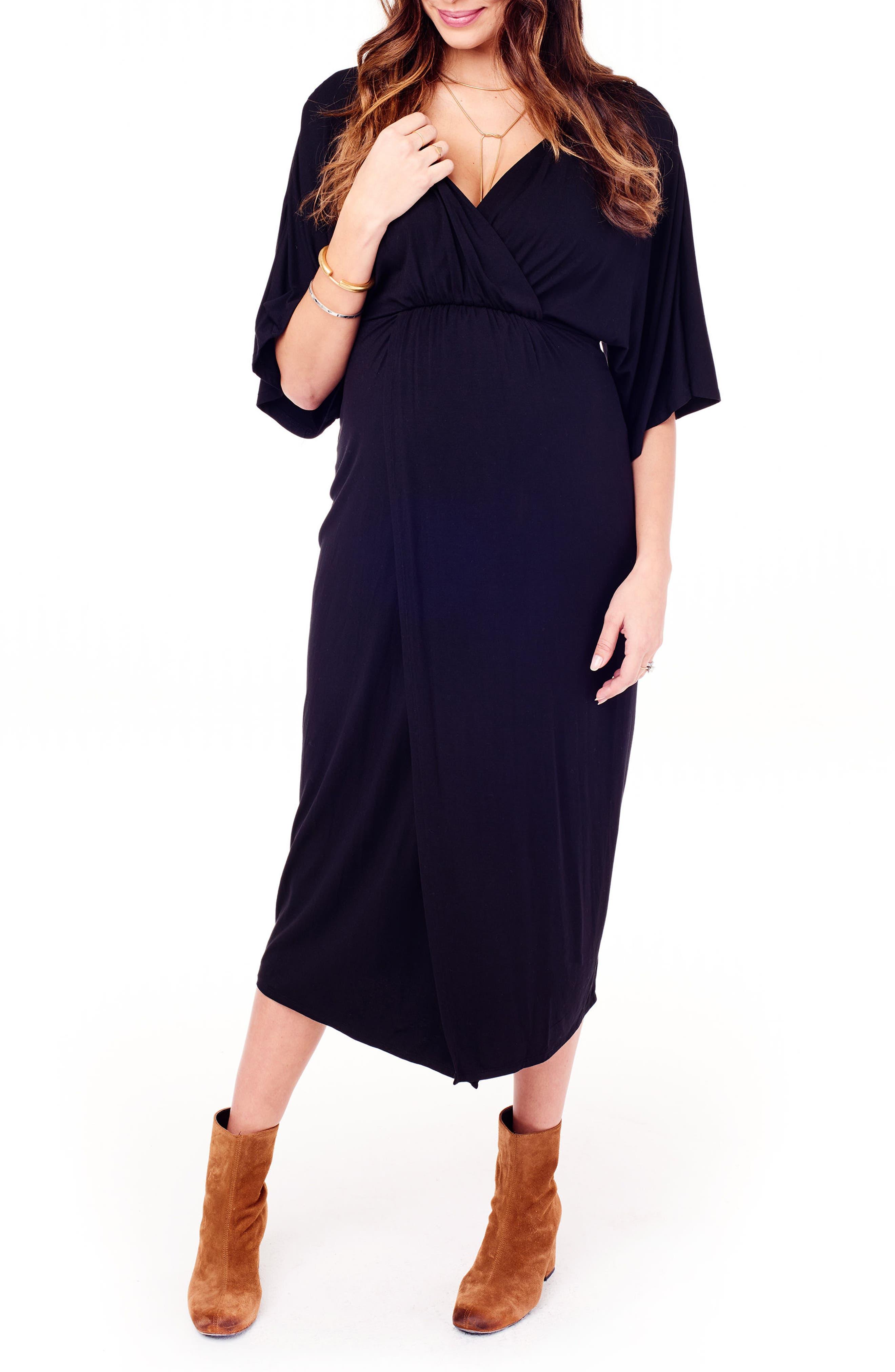Dolman Sleeve Maternity Dress,                             Alternate thumbnail 4, color,                             JET BLACK
