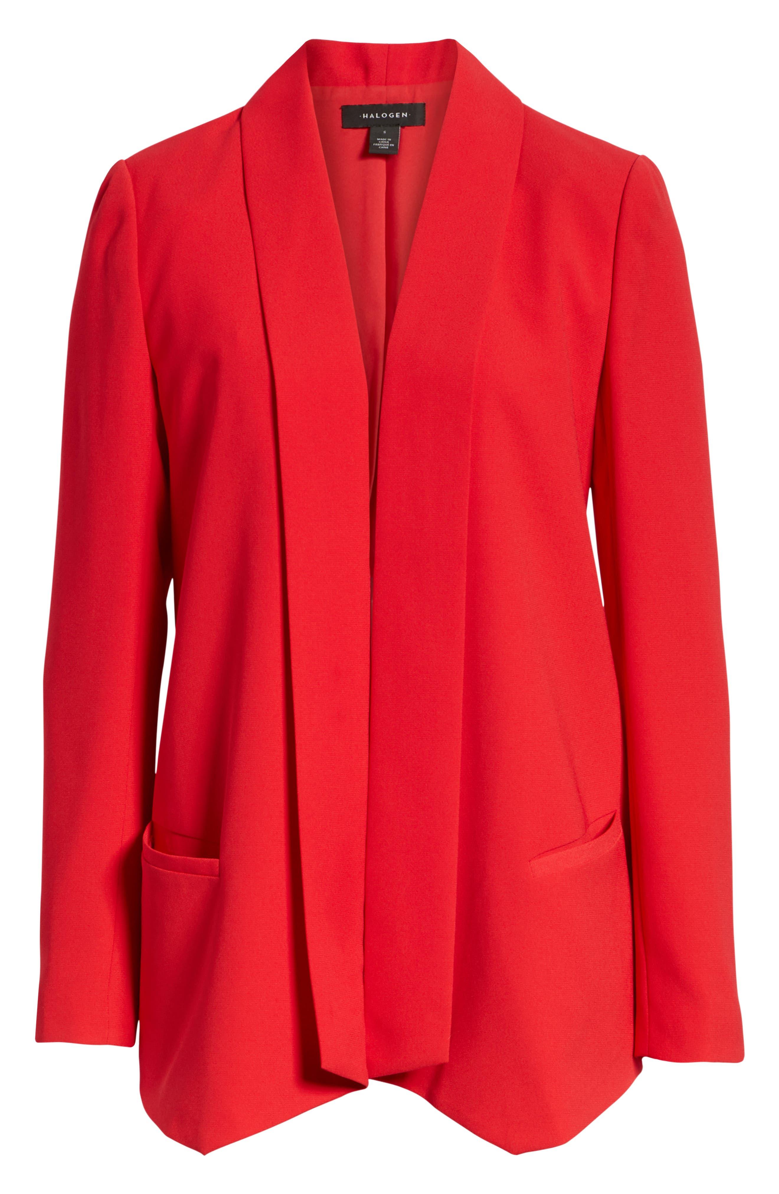 Shawl Collar Blazer,                             Alternate thumbnail 6, color,                             RED CHINOISE