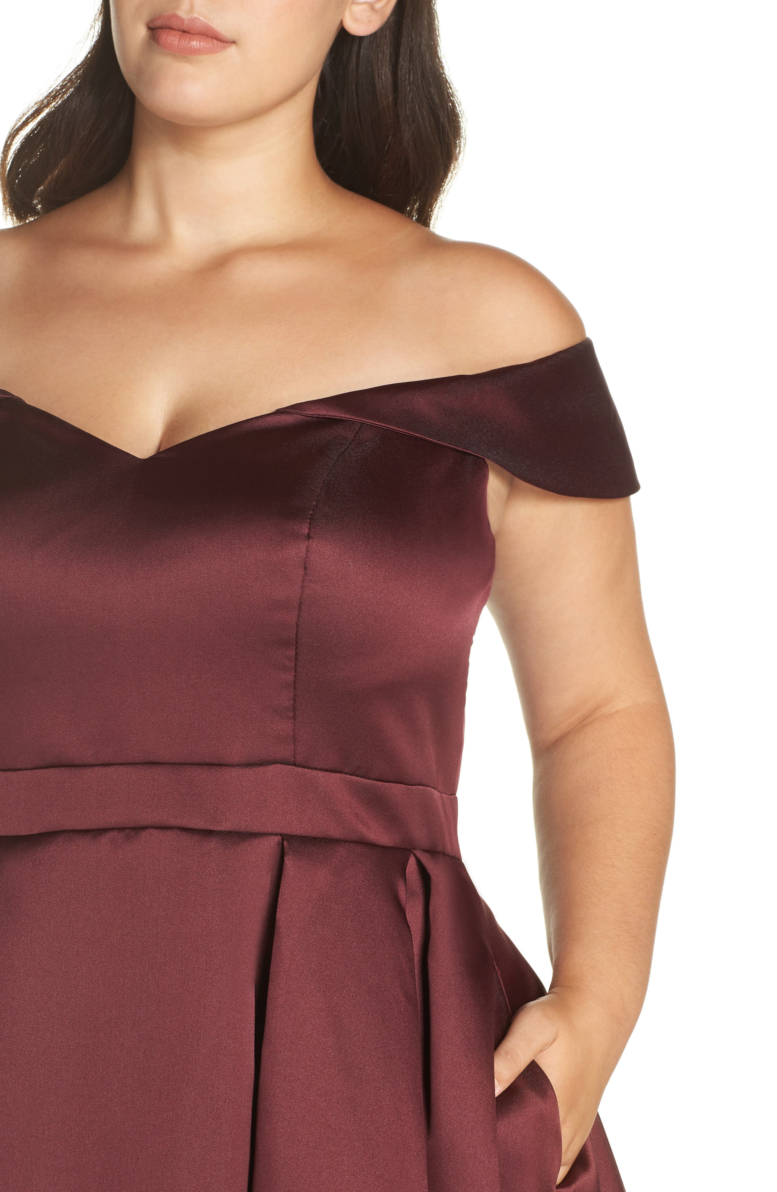 Off the Shoulder Mikado High/Low Gown,                             Alternate thumbnail 4, color,                             BURGUNDY