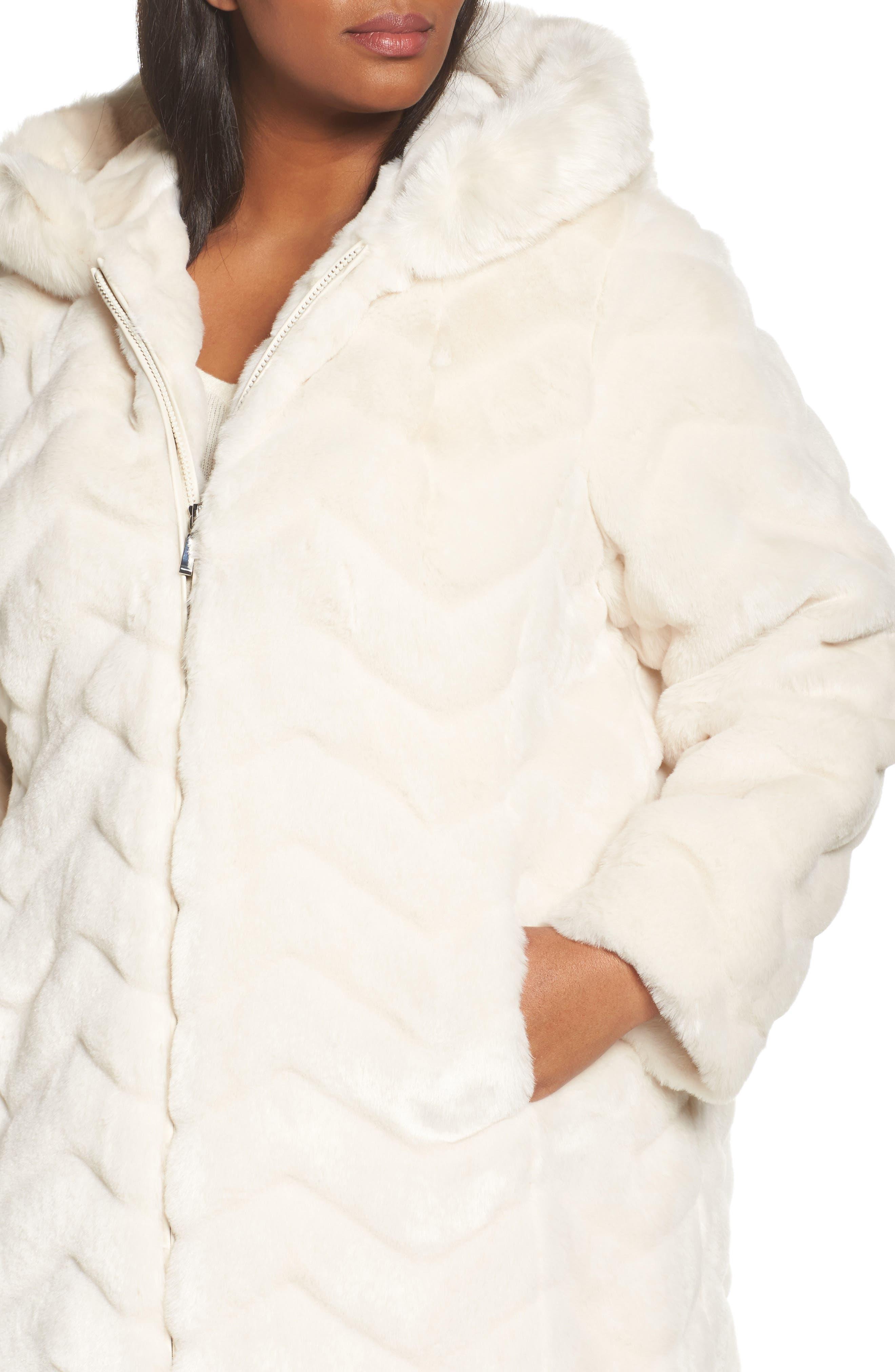 Hooded Chevron Faux Fur Coat,                             Alternate thumbnail 4, color,                             901